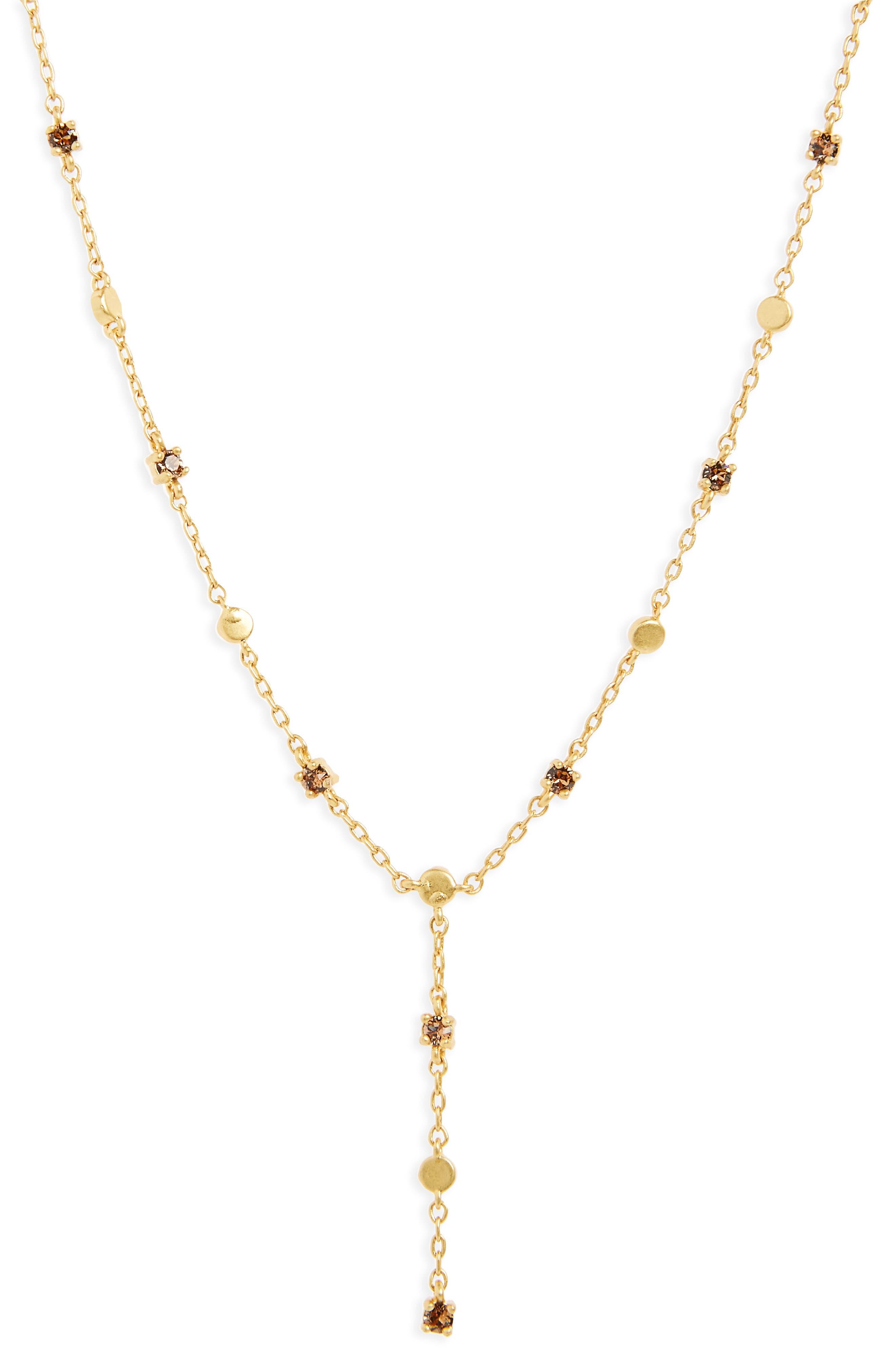 Gem Line Lariat Necklace,                             Main thumbnail 1, color,                             Vintage Gold