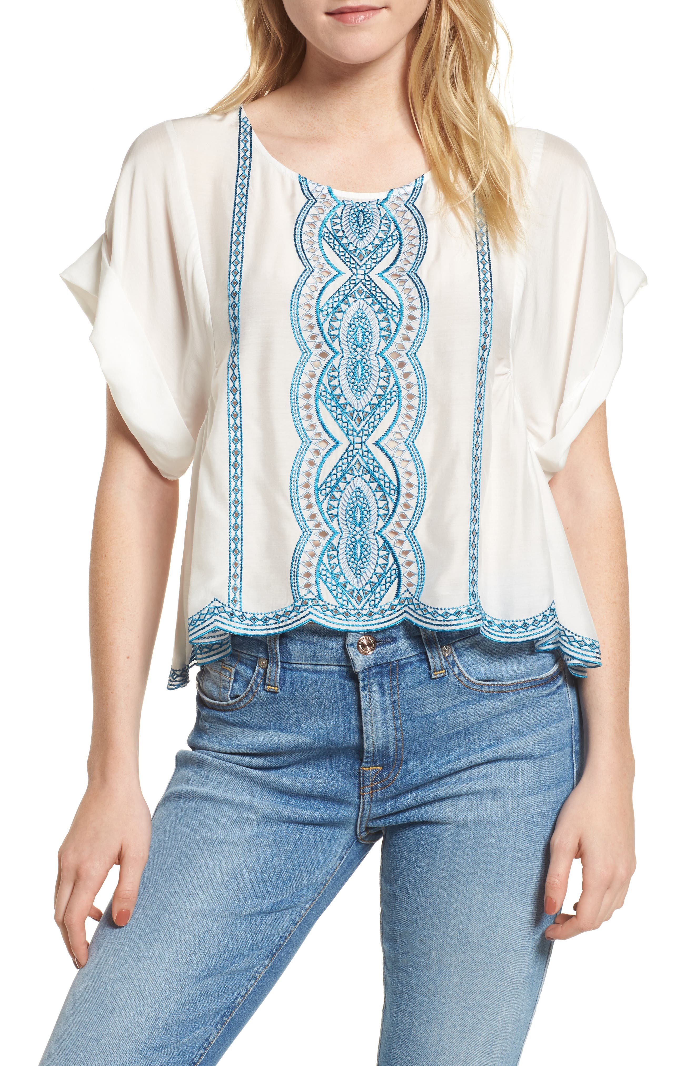 Embroidered Top,                         Main,                         color, Natural