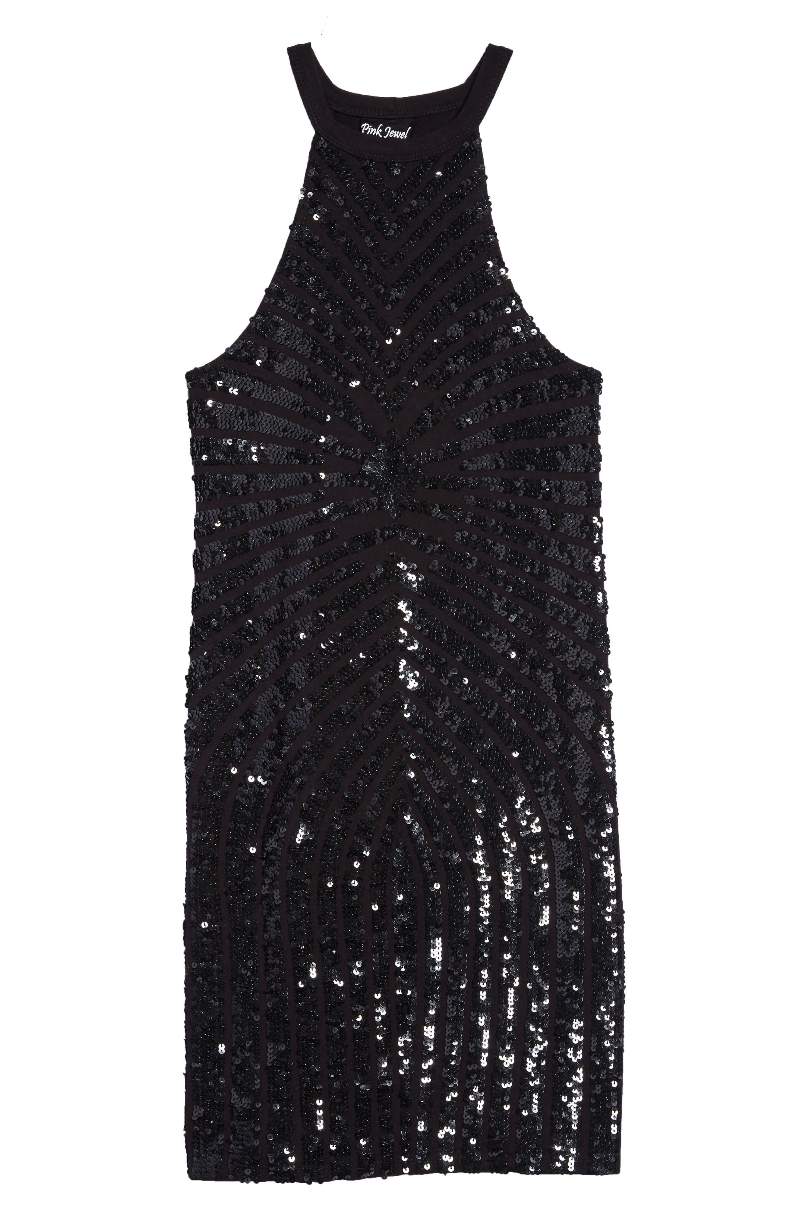 Sequin Stripe Sleeveless Dress,                             Main thumbnail 1, color,                             Black