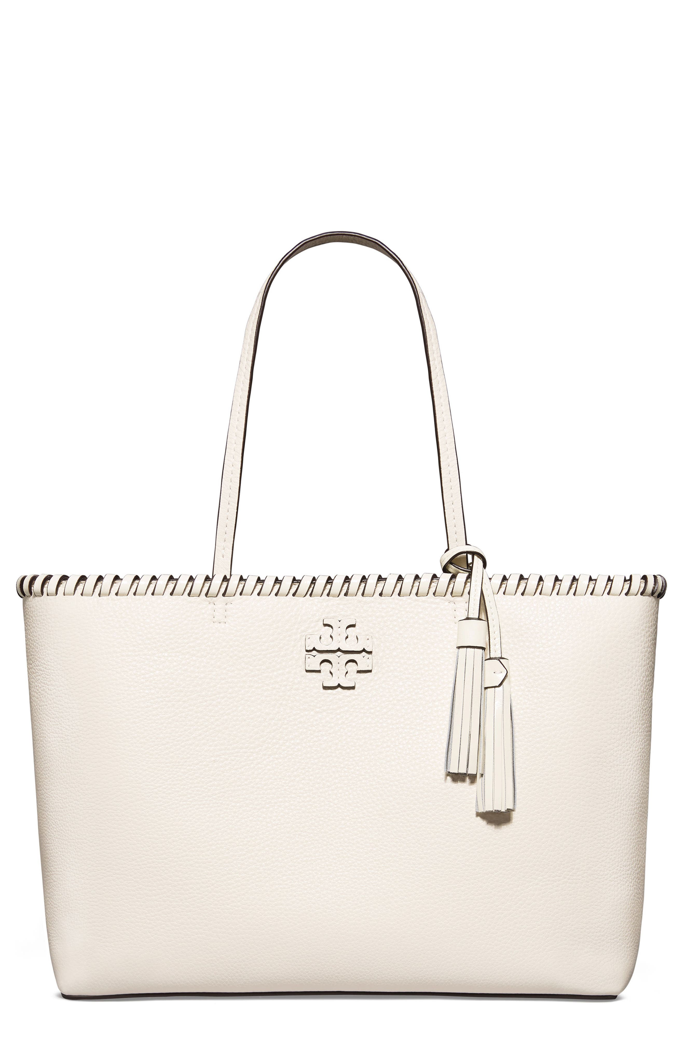 McGraw Whipstitch Leather Tote,                             Main thumbnail 1, color,                             New Ivory