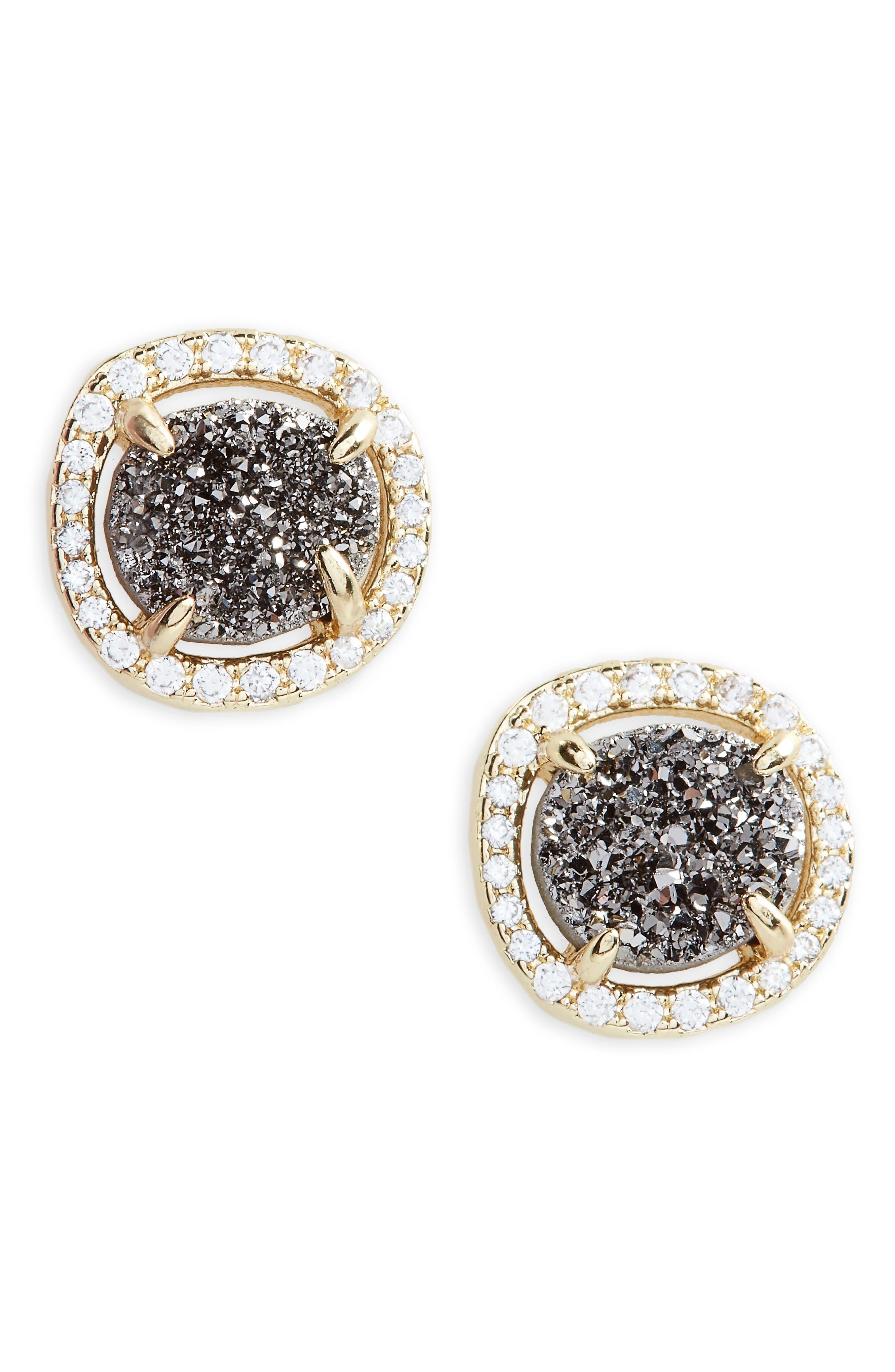 Sarah Louise Drusy Stud Earrings,                         Main,                         color, Grey Druzy/ Gold