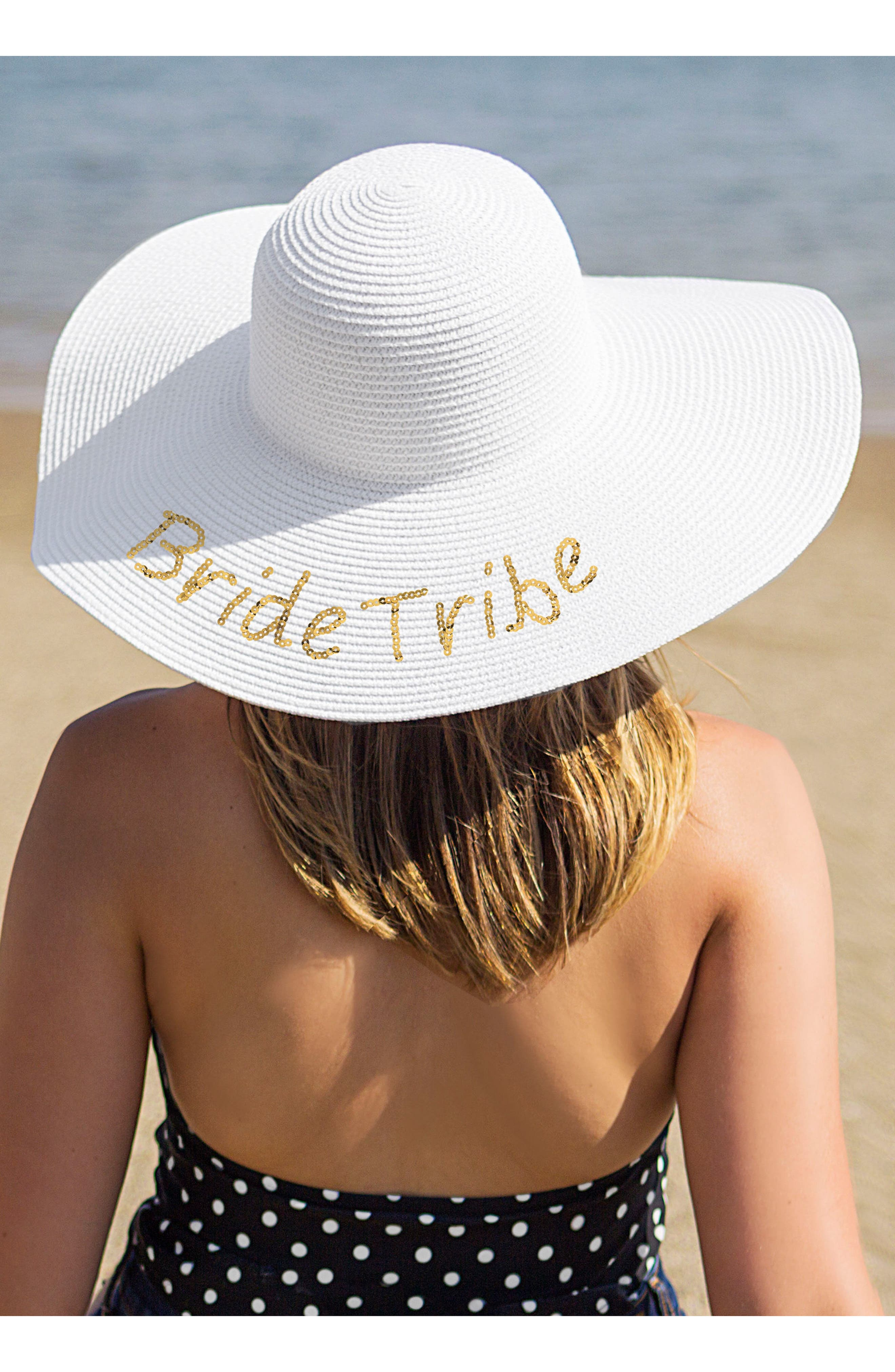 Sequin Bride Tribe Straw Hat,                             Main thumbnail 1, color,                             Gold