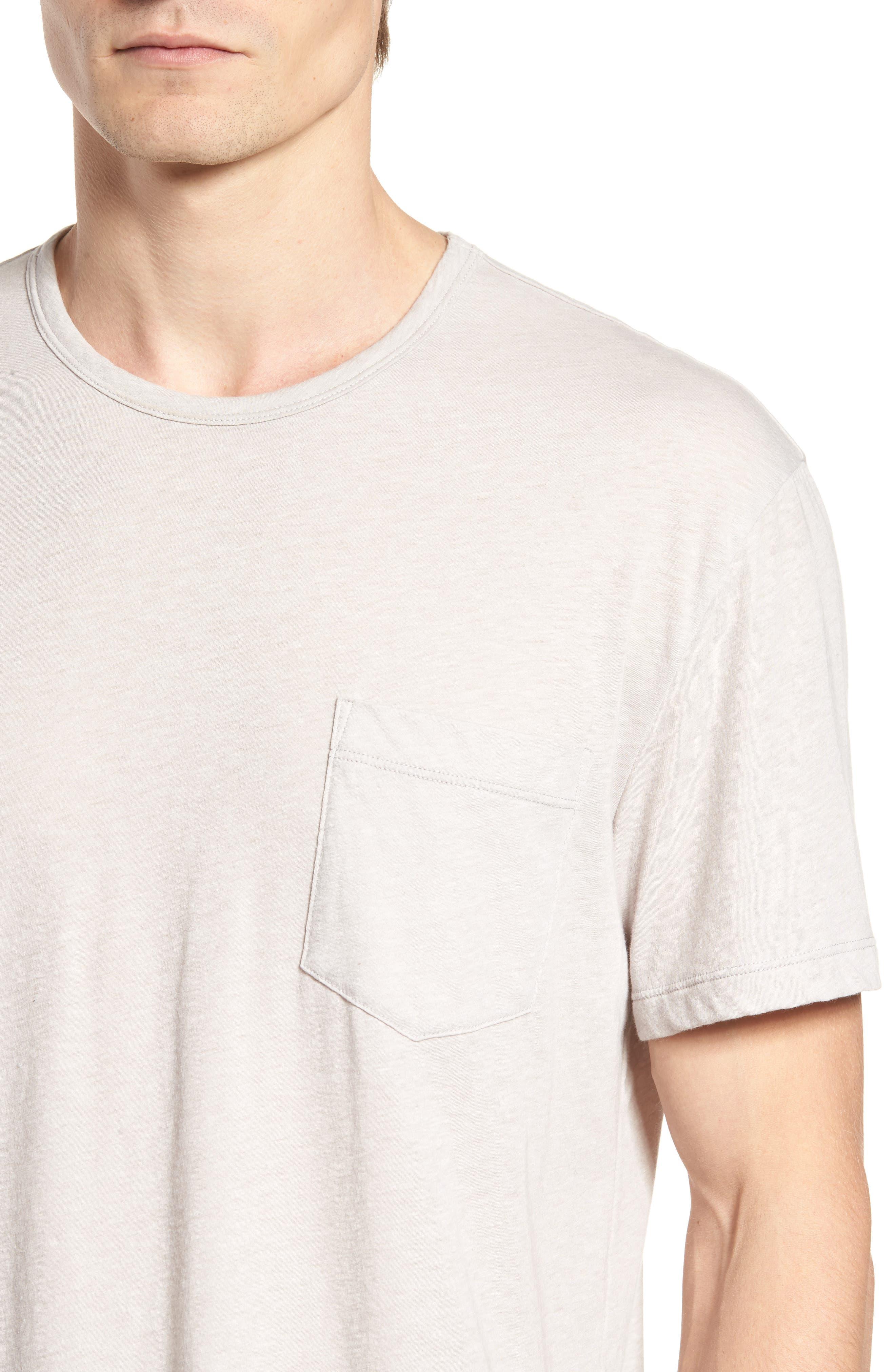 Slubbed Cotton & Linen Pocket T-Shirt,                             Alternate thumbnail 4, color,                             Fossil Melange