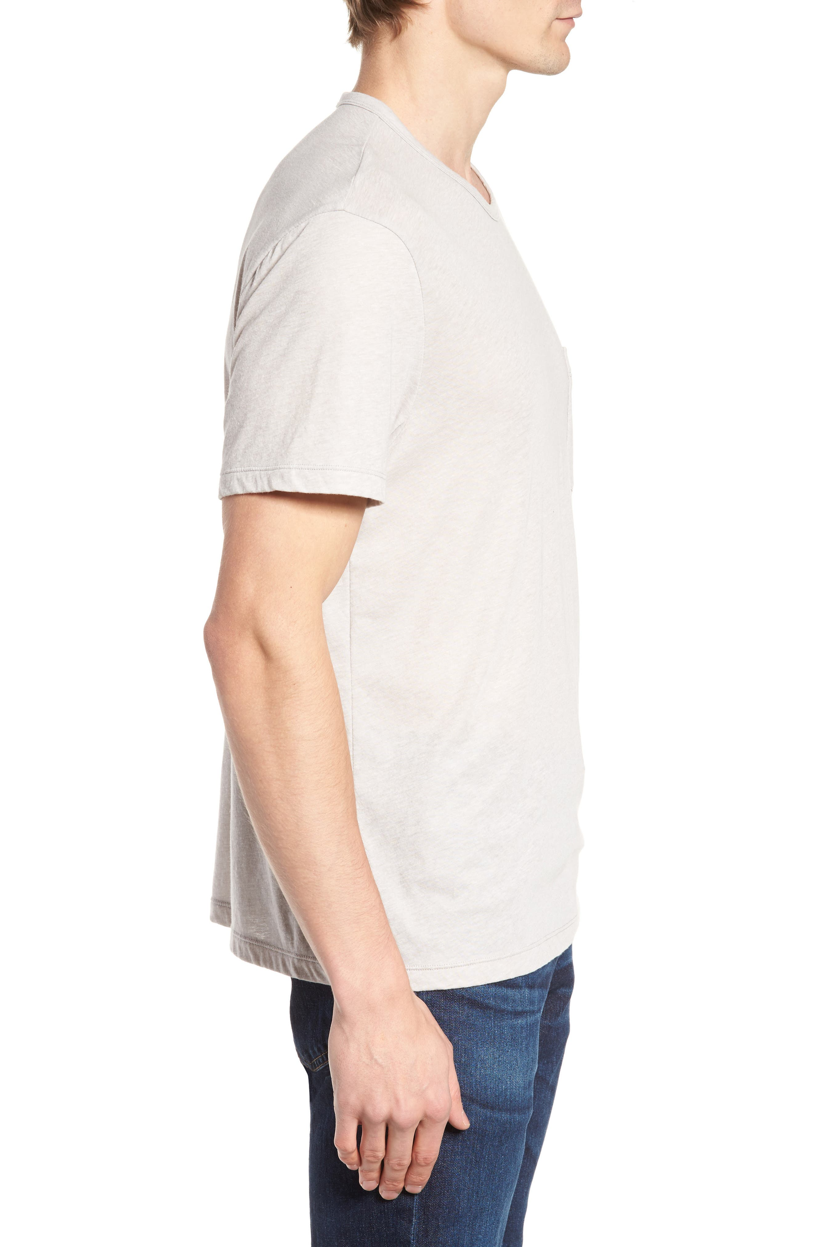 Slubbed Cotton & Linen Pocket T-Shirt,                             Alternate thumbnail 3, color,                             Fossil Melange