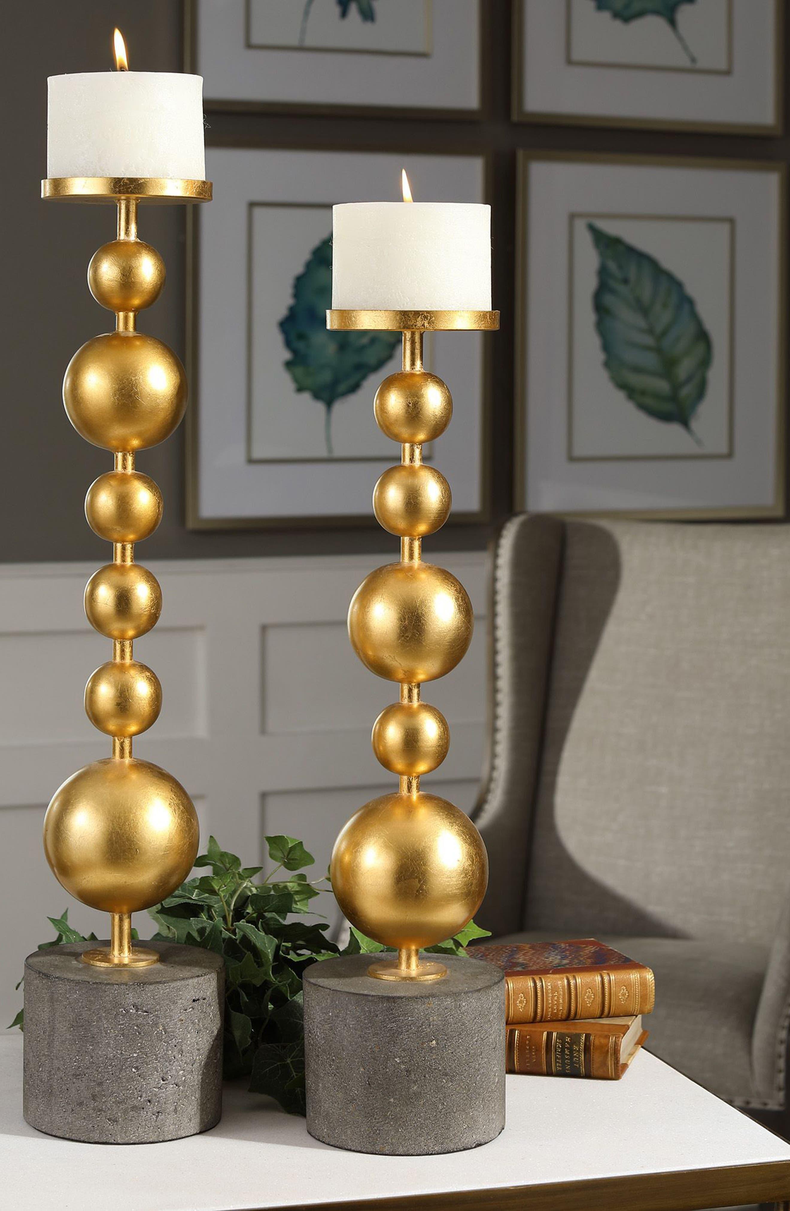Selim Set of 2 Candleholders,                             Alternate thumbnail 2, color,                             Metallic Gold