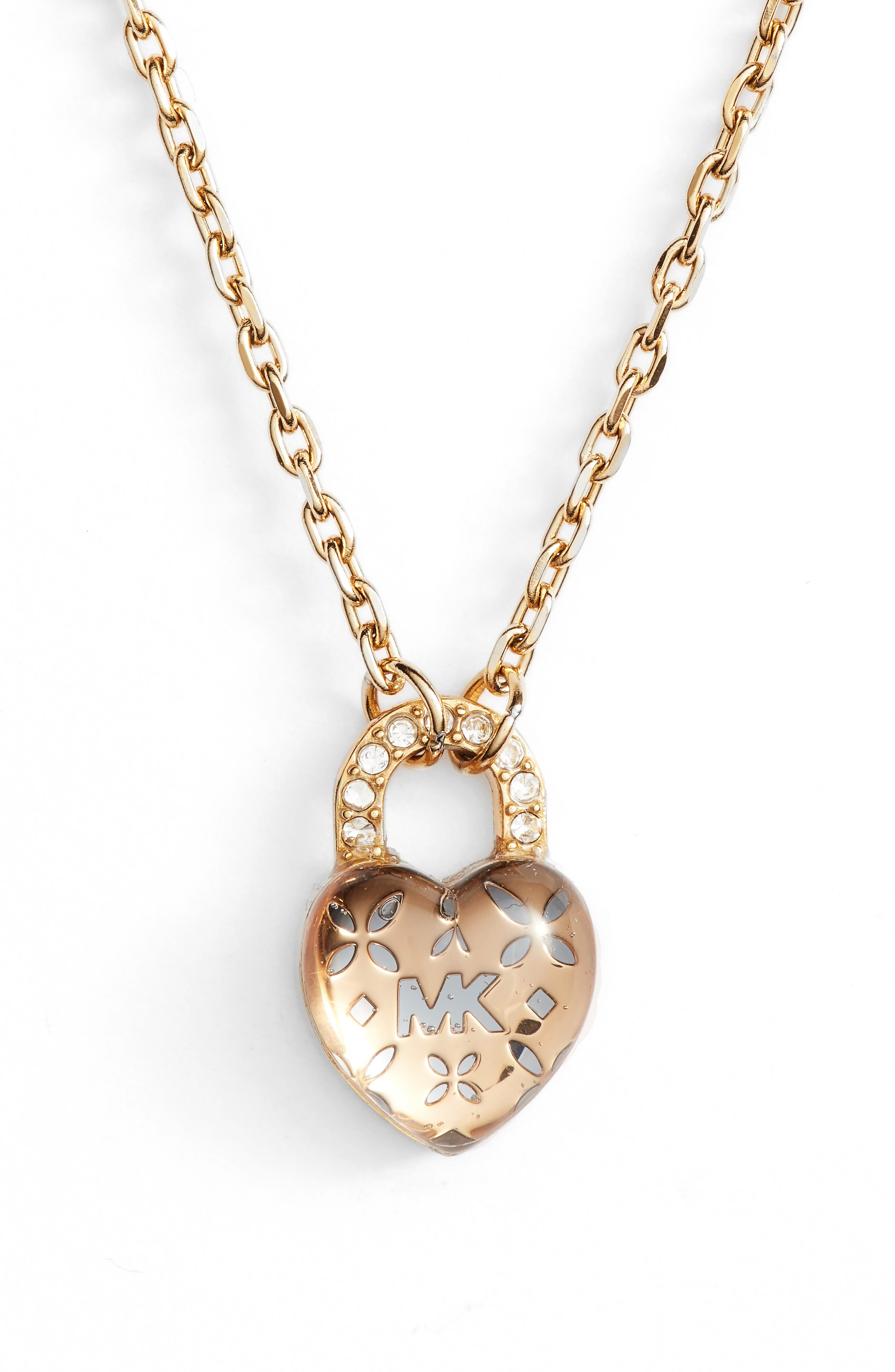 Heart Padlock Pendant Necklace,                         Main,                         color, Gold
