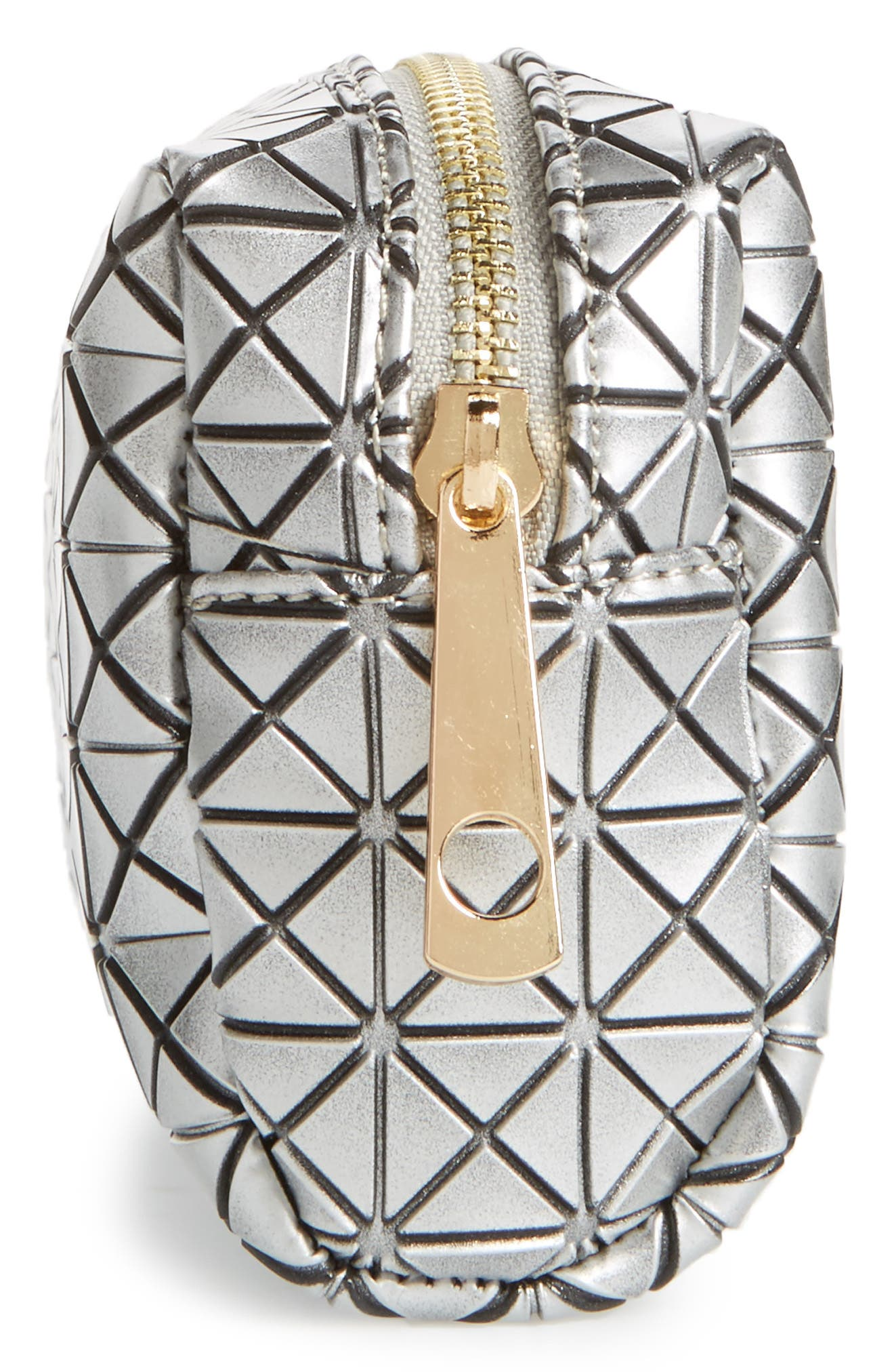 Diamond Embossed Cosmetics Bag,                             Alternate thumbnail 4, color,                             Silver