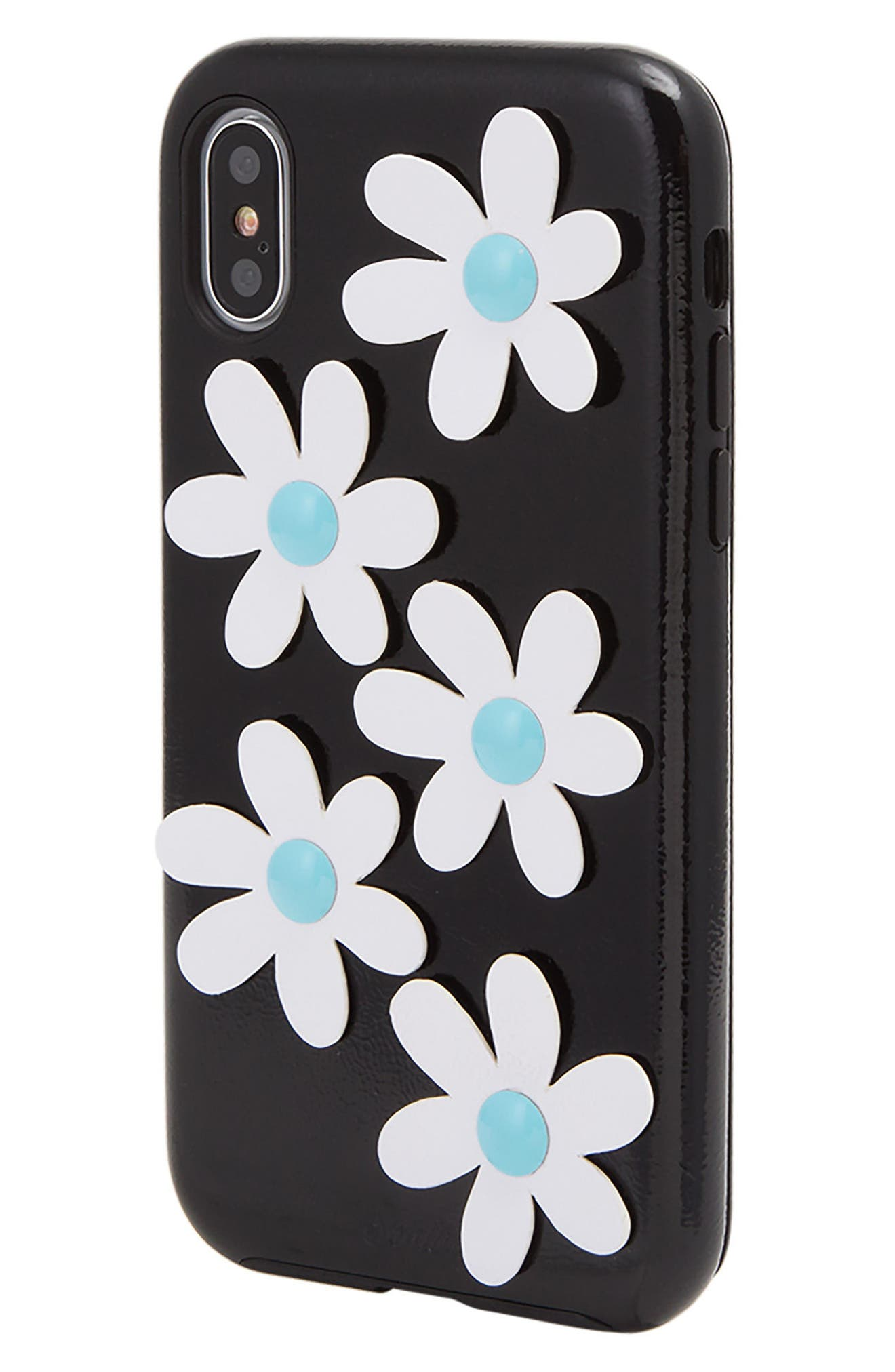 Daisy Faux Leather iPhone X Case,                             Alternate thumbnail 2, color,                             Black/ White