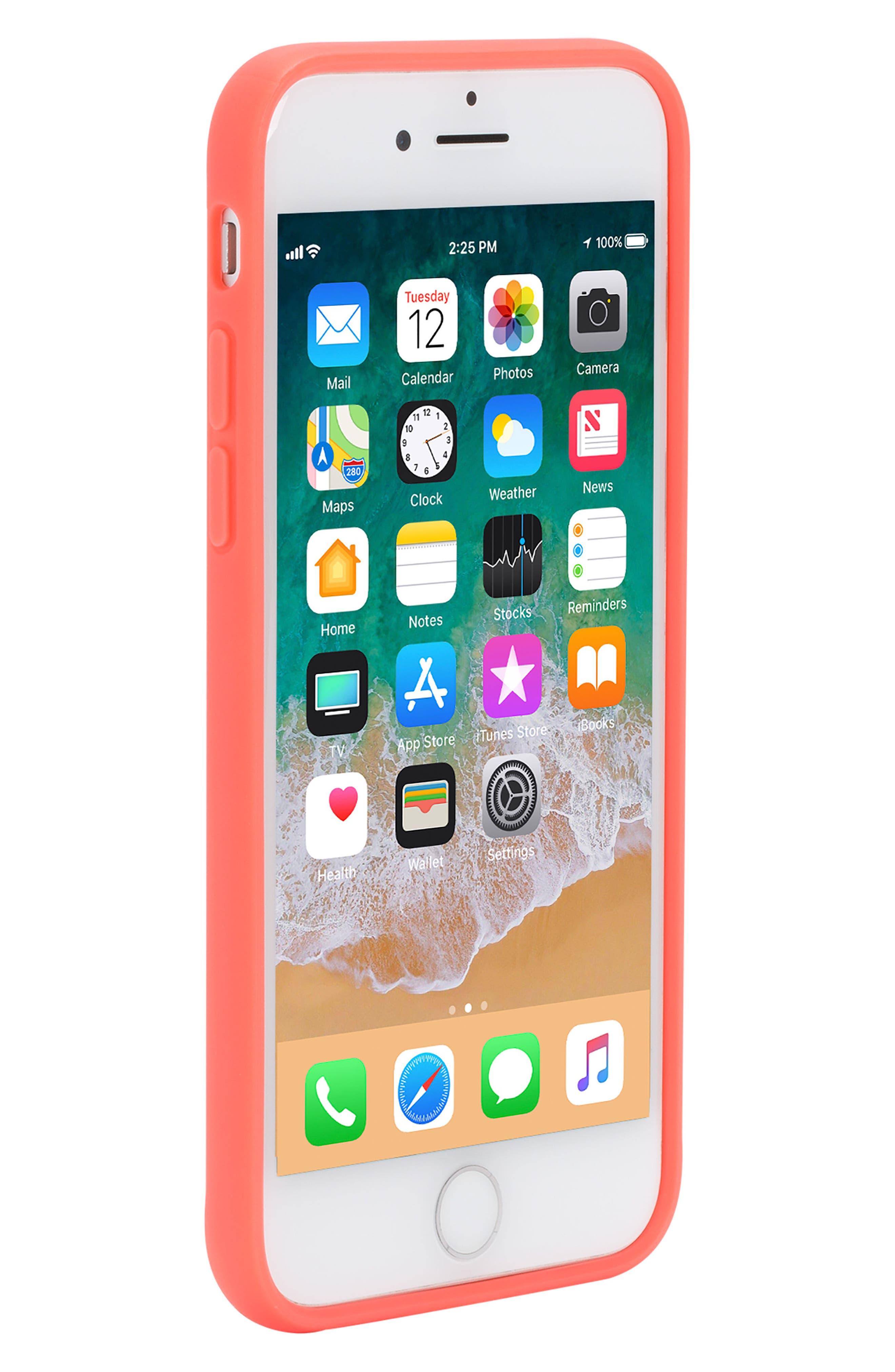Pop Case Clear iPhone 7/8 Case,                             Alternate thumbnail 7, color,                             Coral