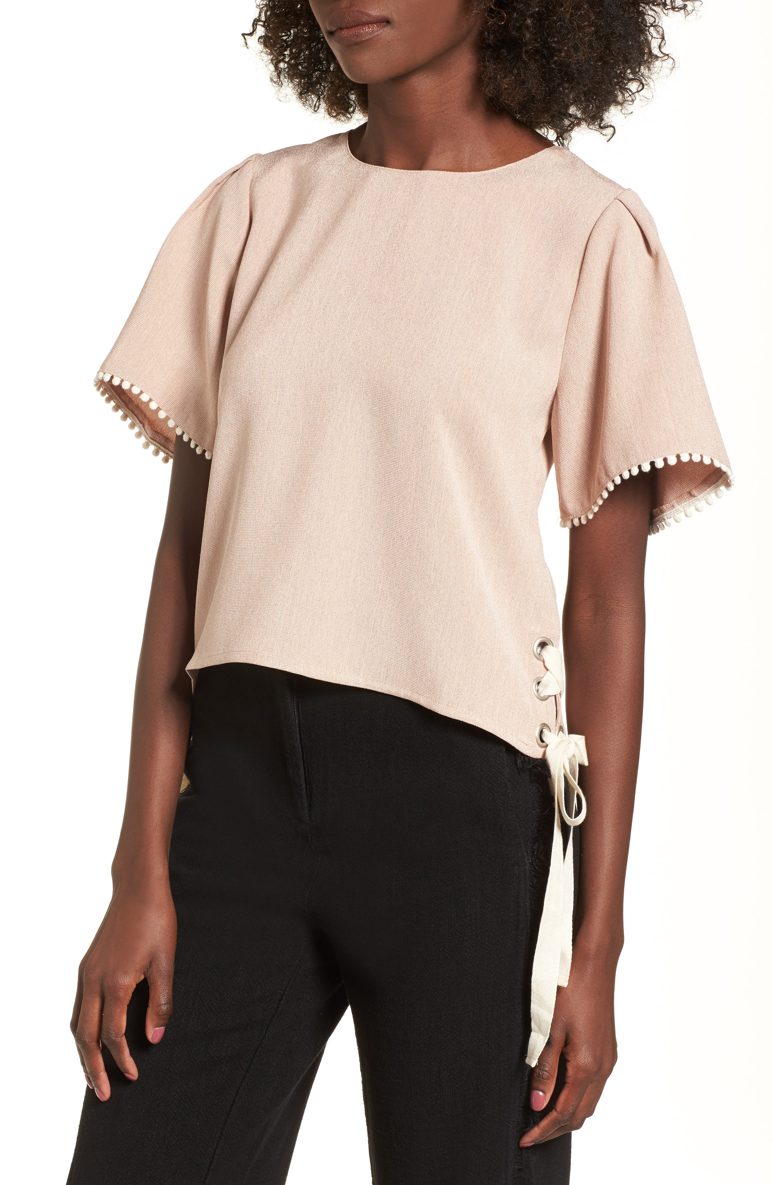 Pompom Trim Lace-Up Side Top,                         Main,                         color, Dusty Pink