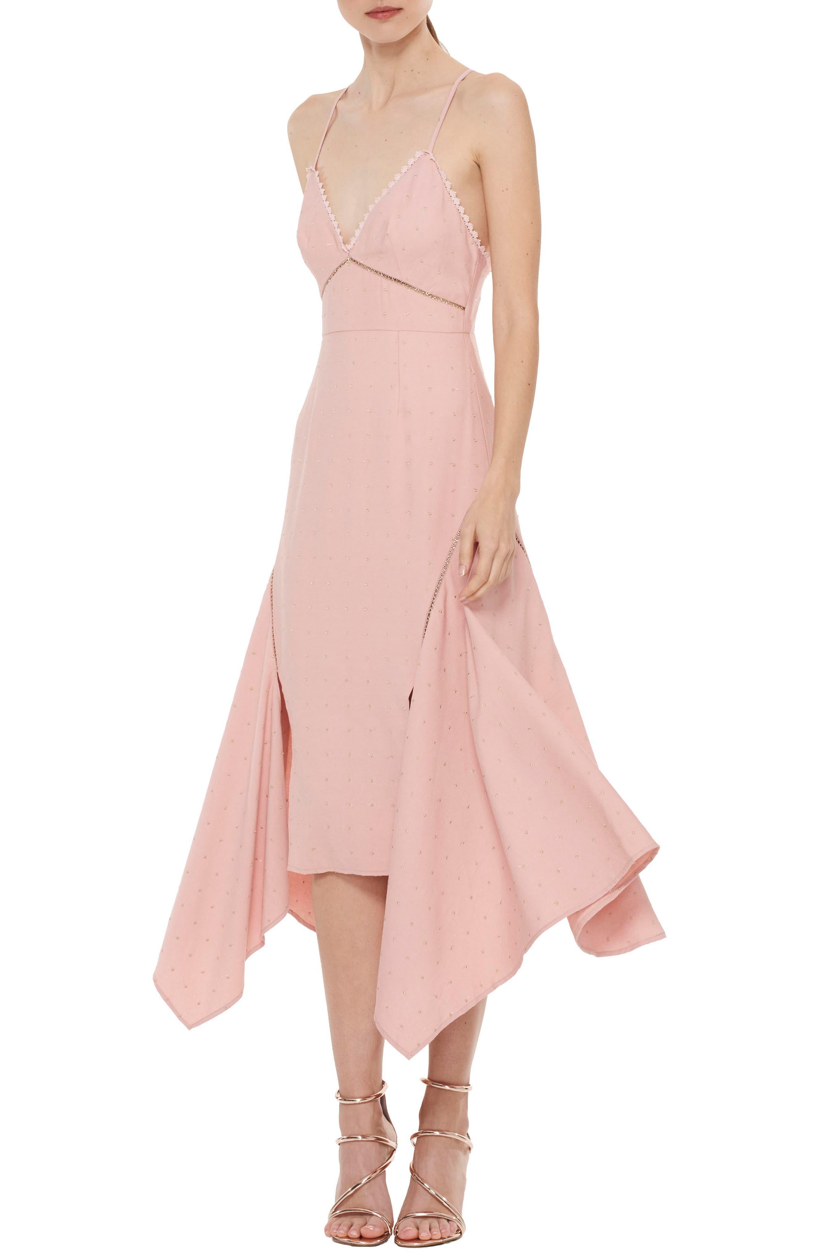 Penelope Embellished Godet Dress,                             Main thumbnail 1, color,                             Rose Dust W Gold Spot