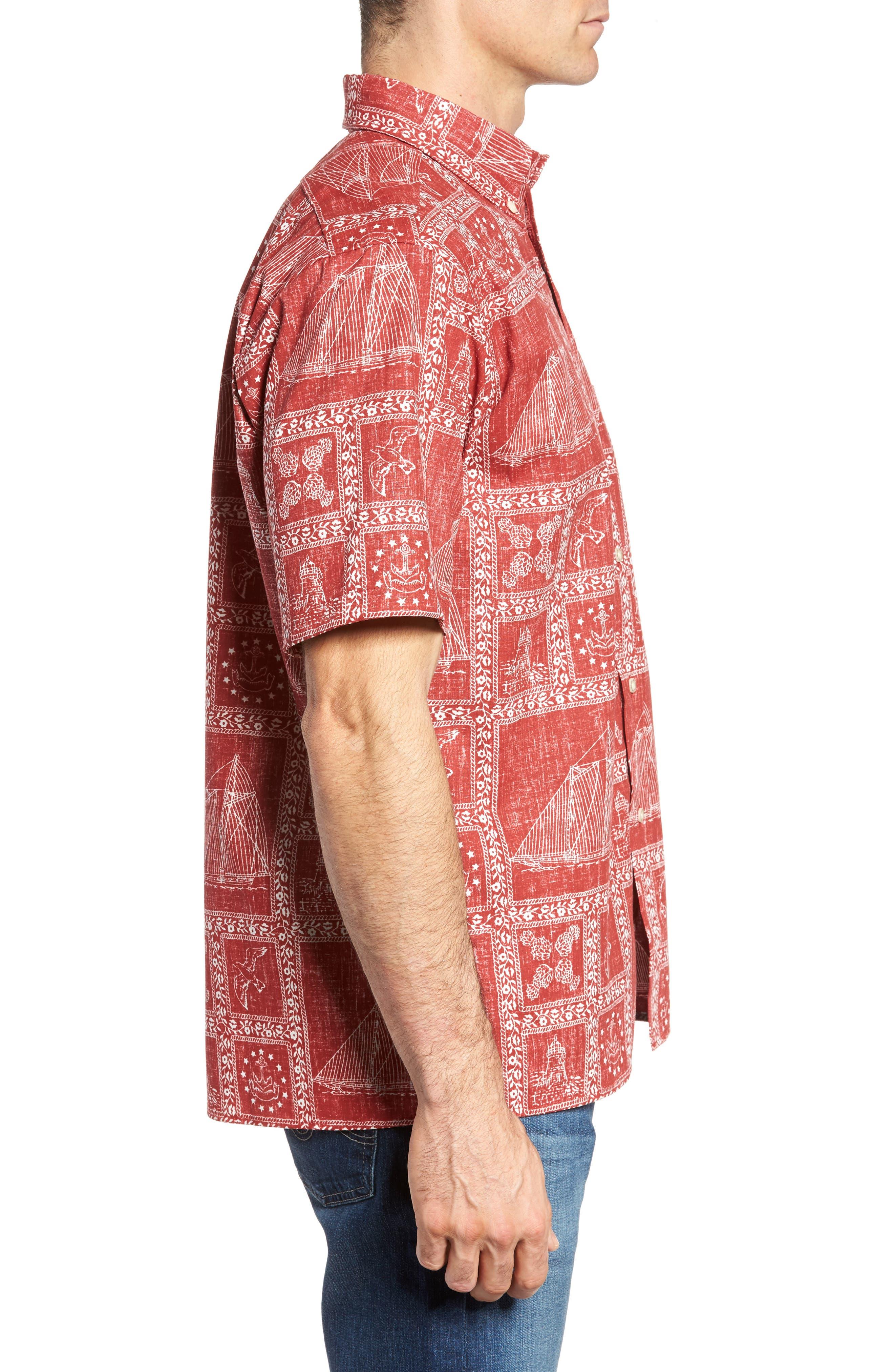 Newport Sailor Classic Fit Print Sport Shirt,                             Alternate thumbnail 3, color,                             Red