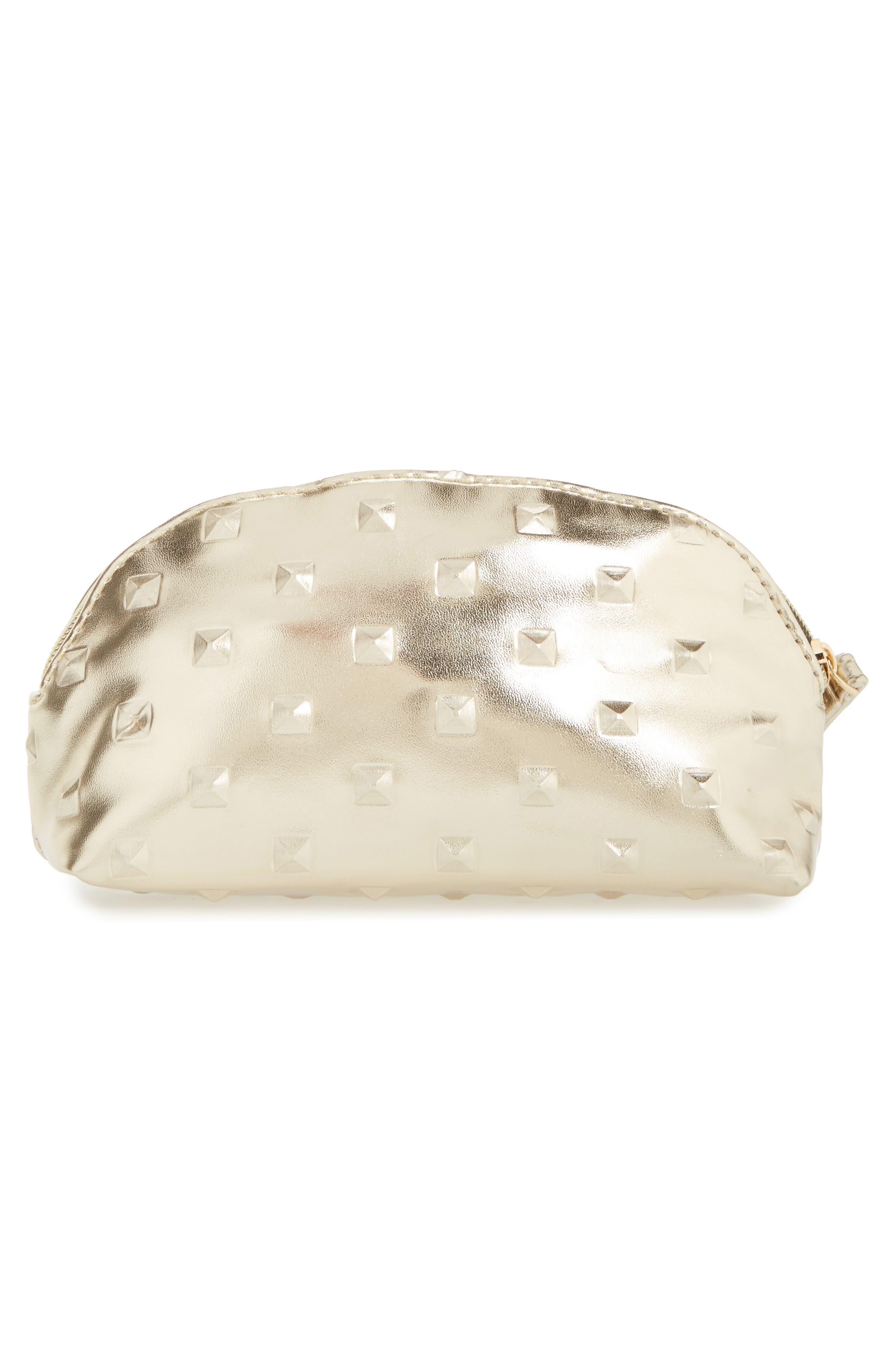 Diamond Embossed Metallic Cosmetics Bag,                             Alternate thumbnail 2, color,                             Gold