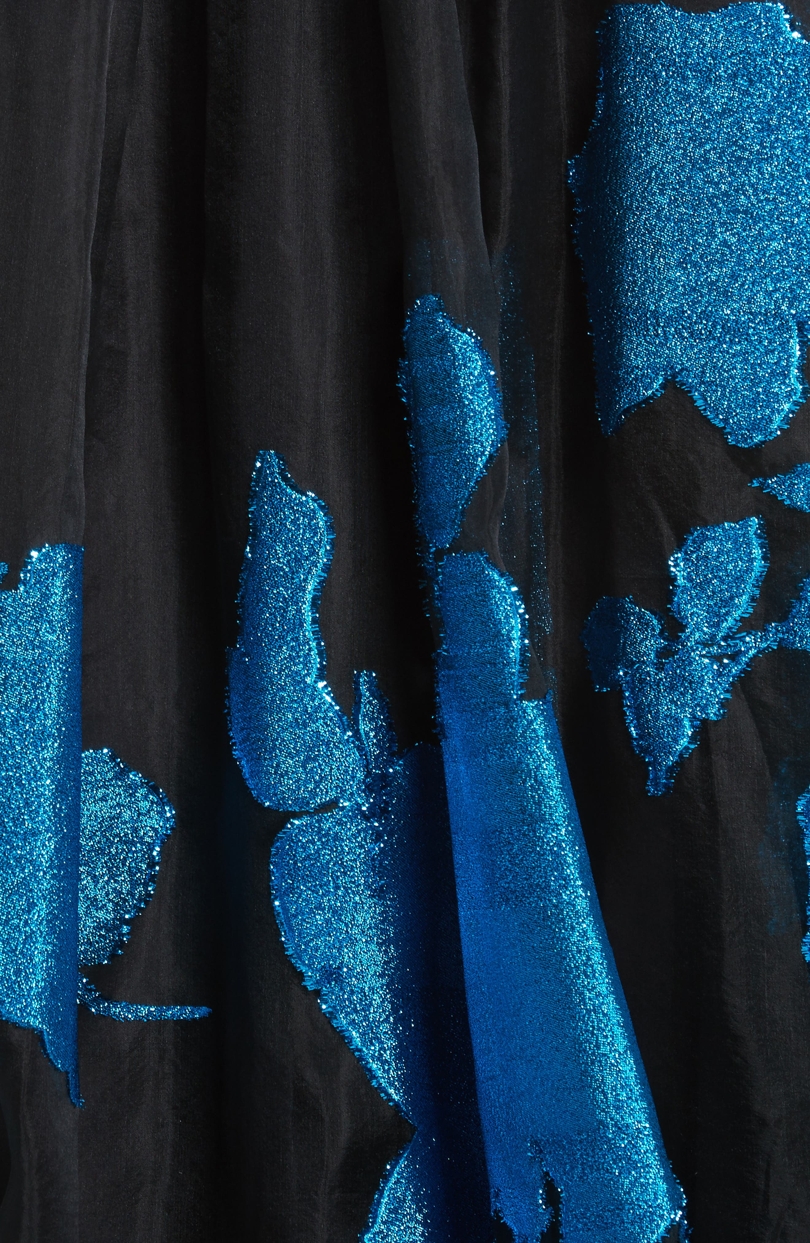 Metallic Floral Chiffon Gown,                             Alternate thumbnail 7, color,                             Cerulean/ Black