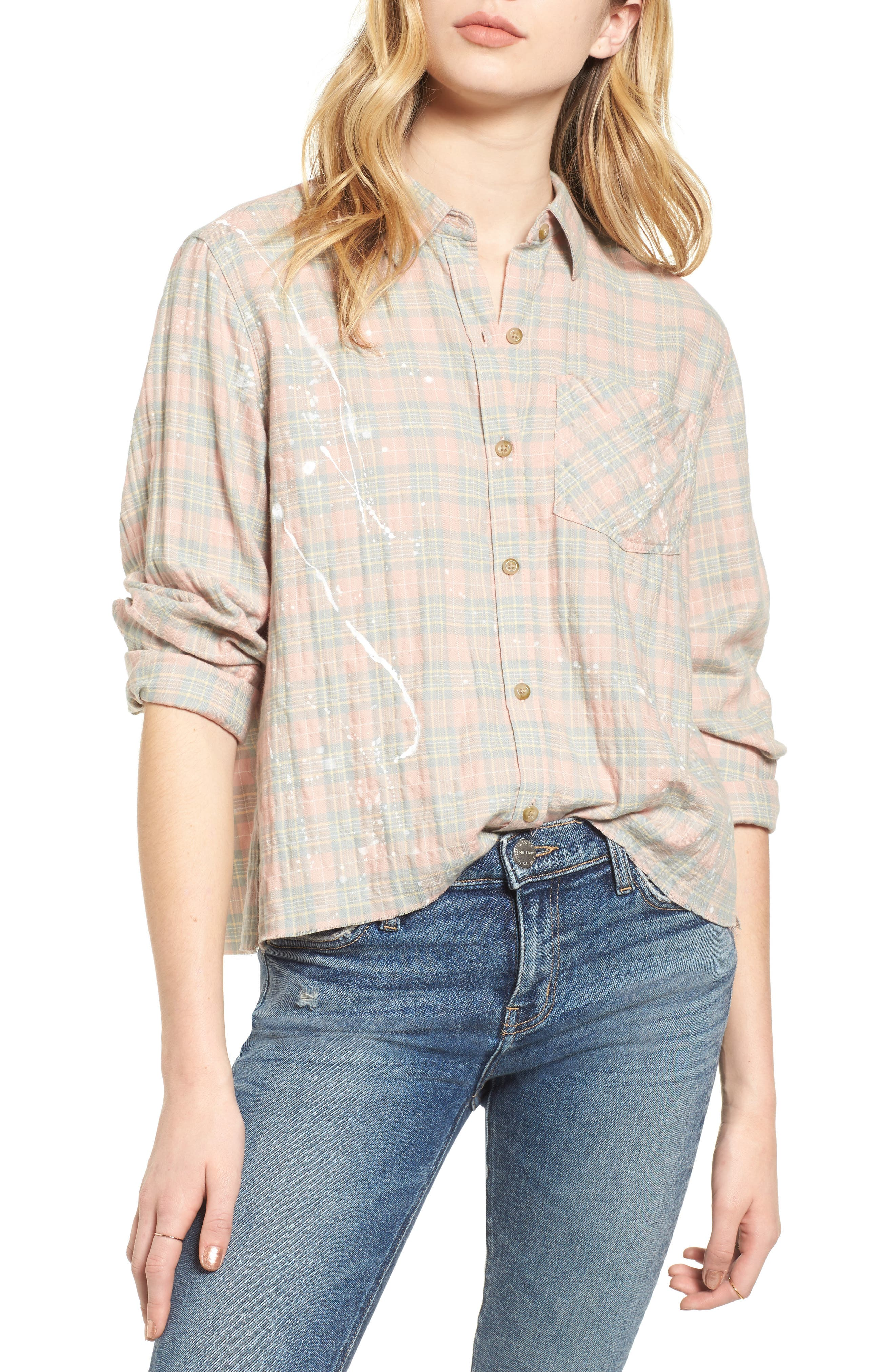The Ivie Plaid Shirt,                             Main thumbnail 1, color,                             Sunshine Plaid