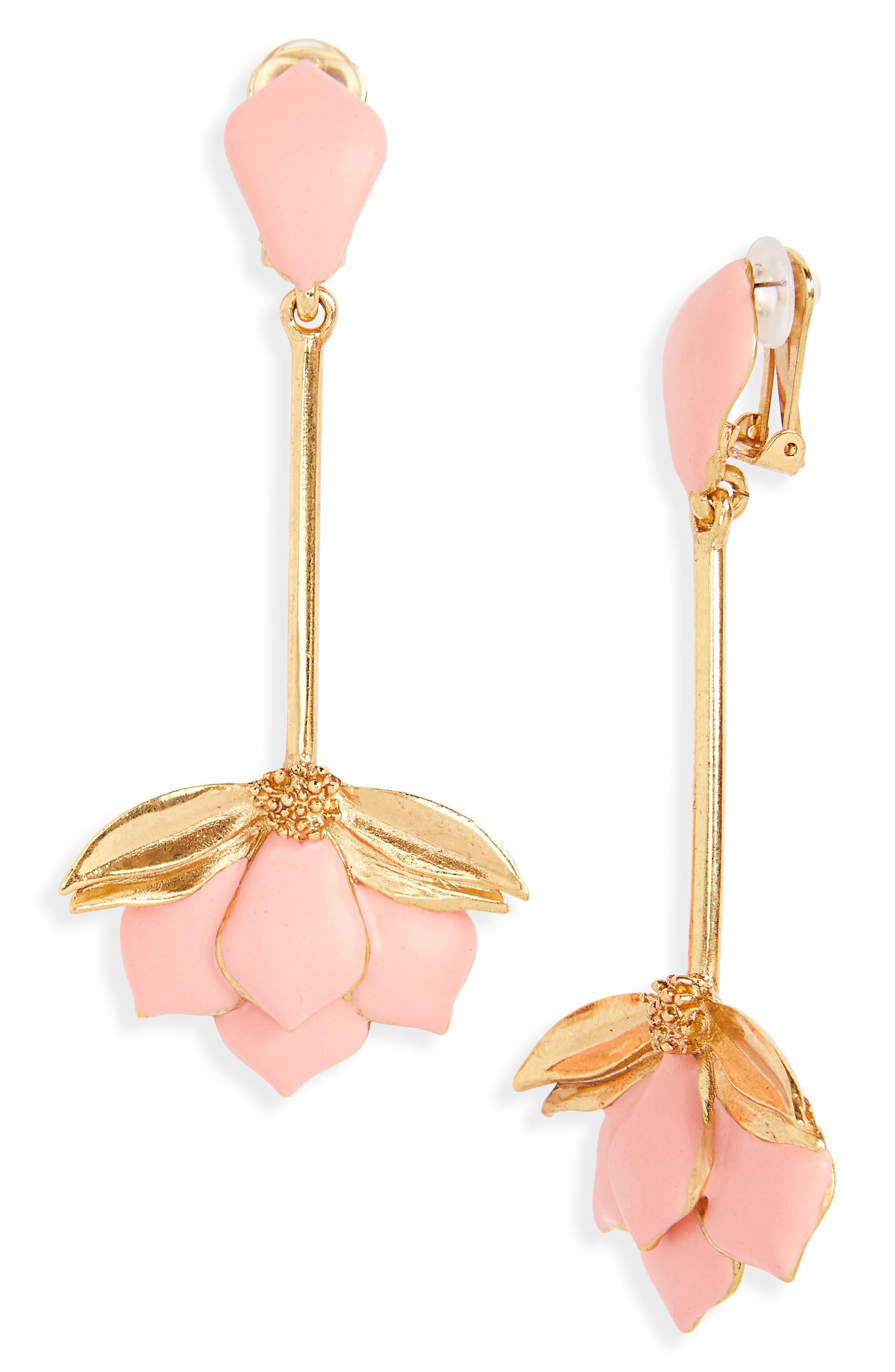 Oscar de la Renta Wild Lotus Clip Earrings