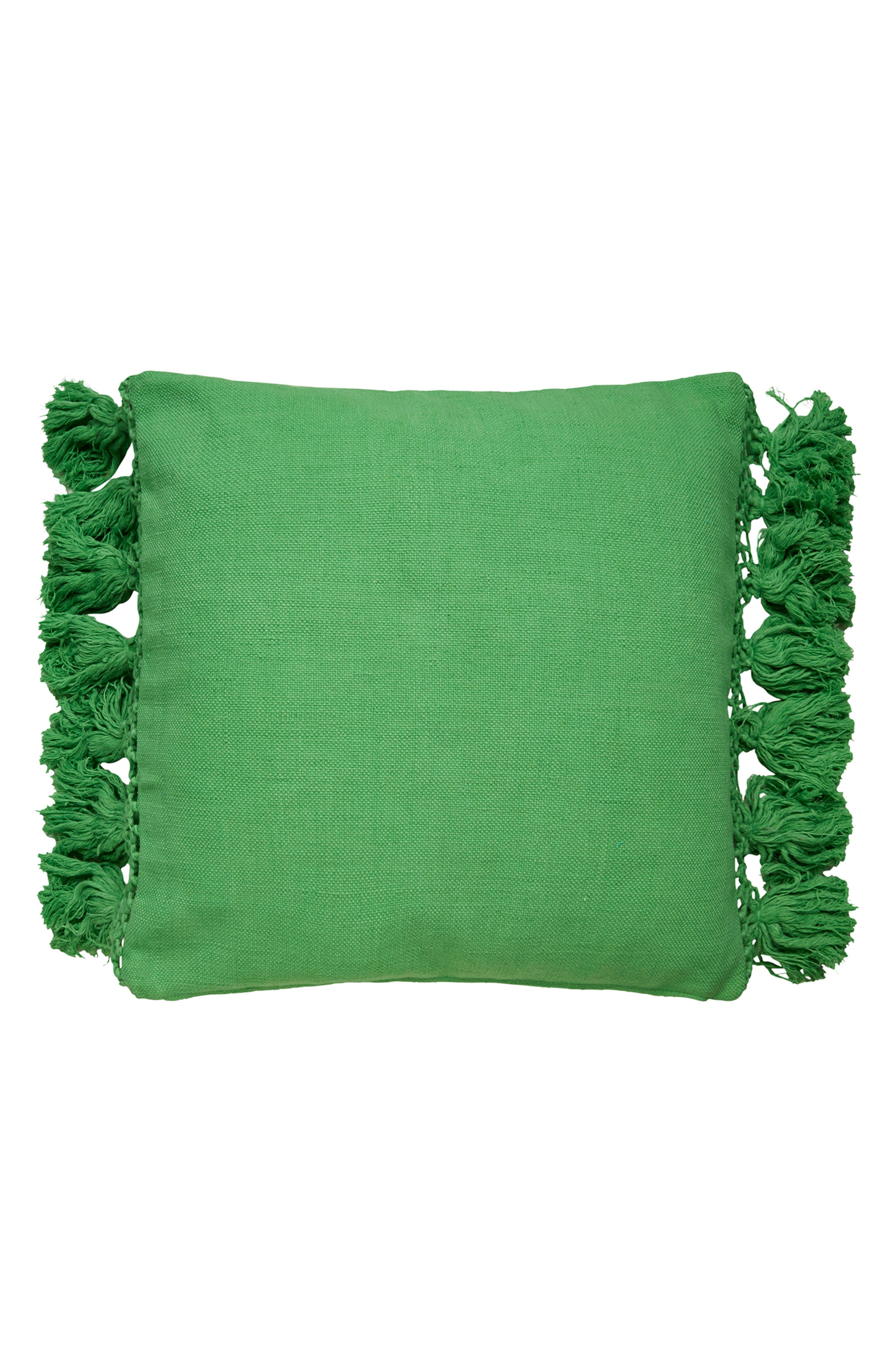 tassel pillow,                             Main thumbnail 1, color,                             Picnic Green