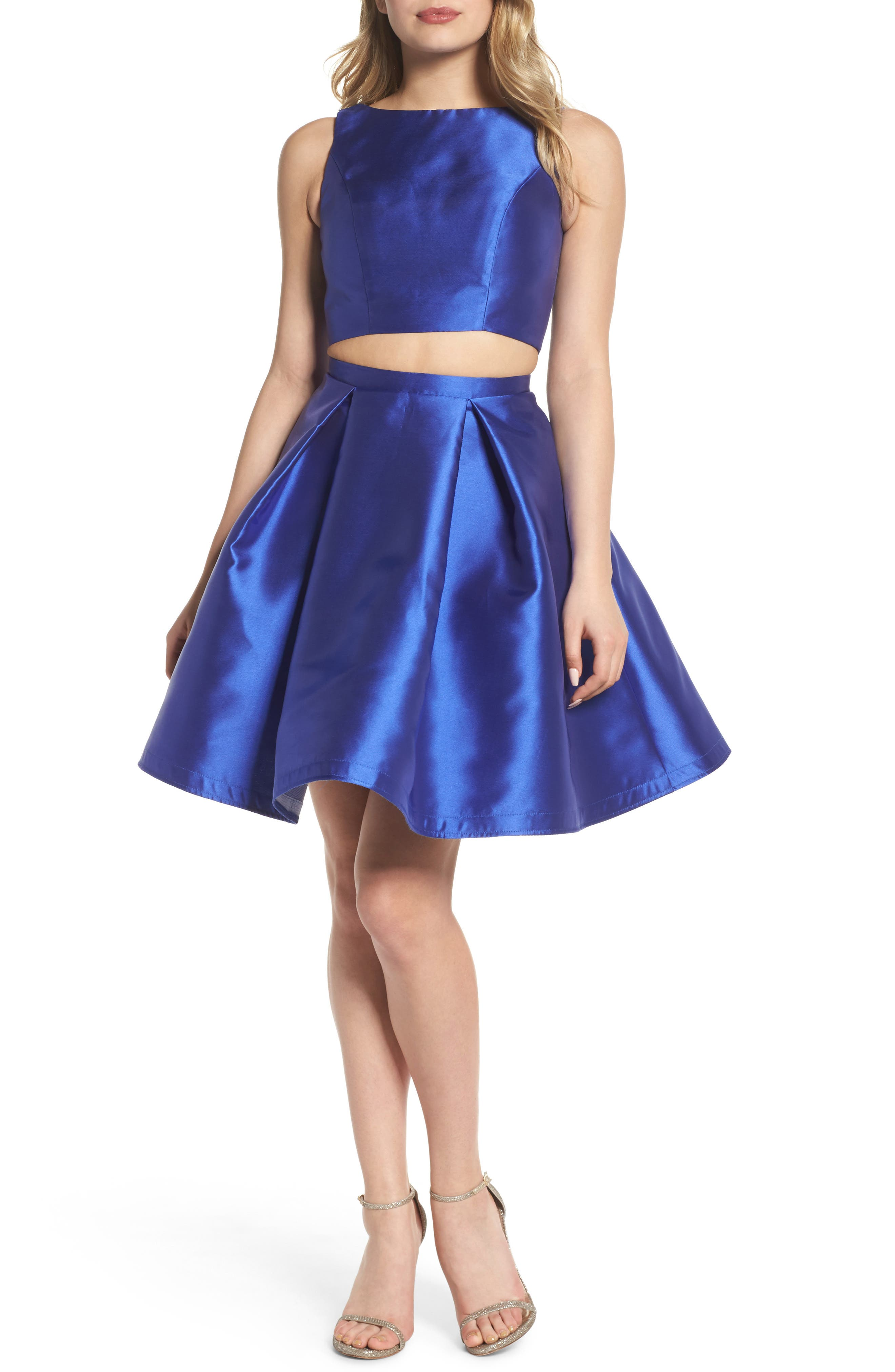 Skater Skirt Two-Piece Dress,                             Main thumbnail 1, color,                             Sapphire