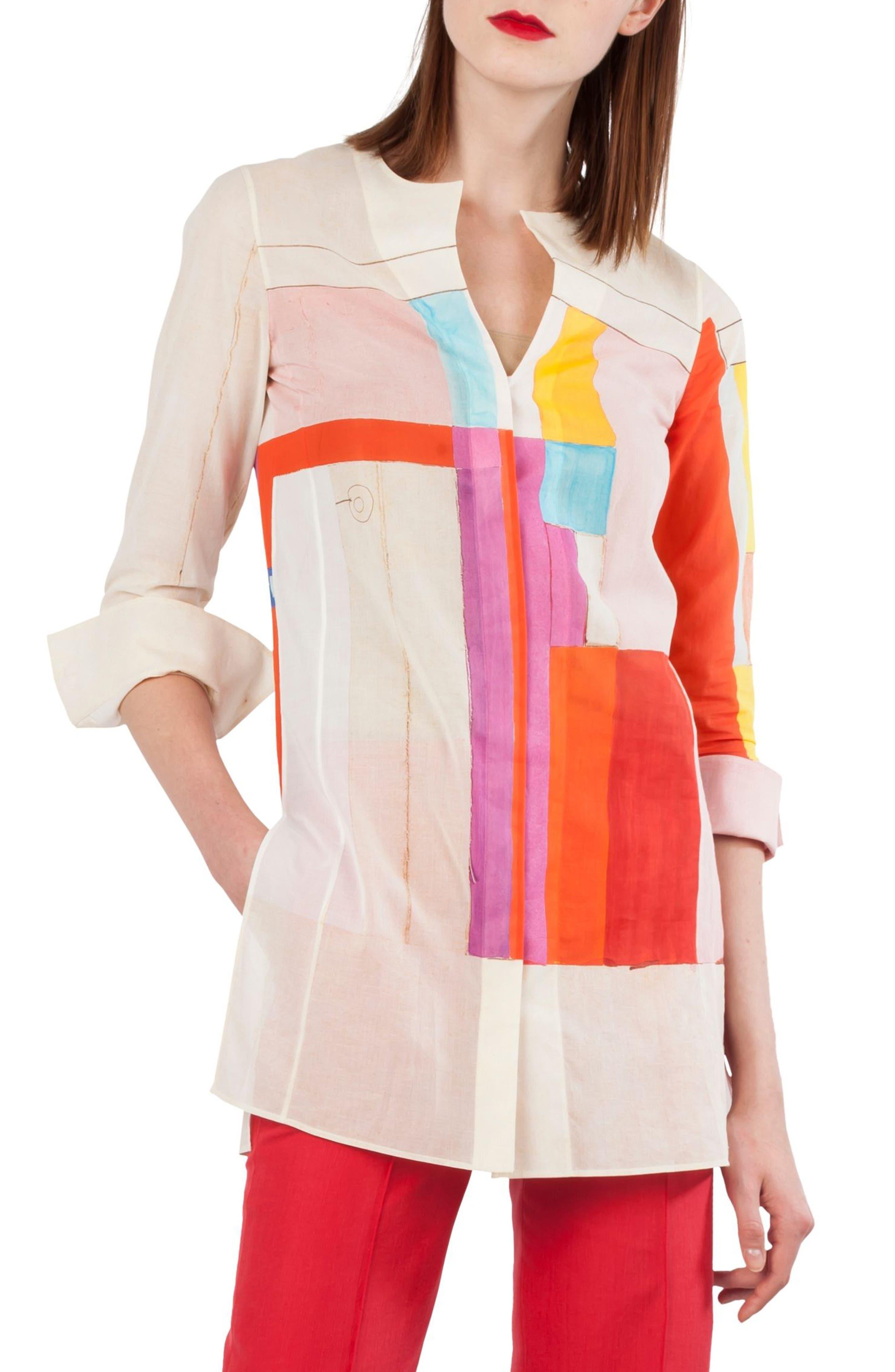 Mural Cotton Voile Tunic,                             Main thumbnail 1, color,                             Multicolor
