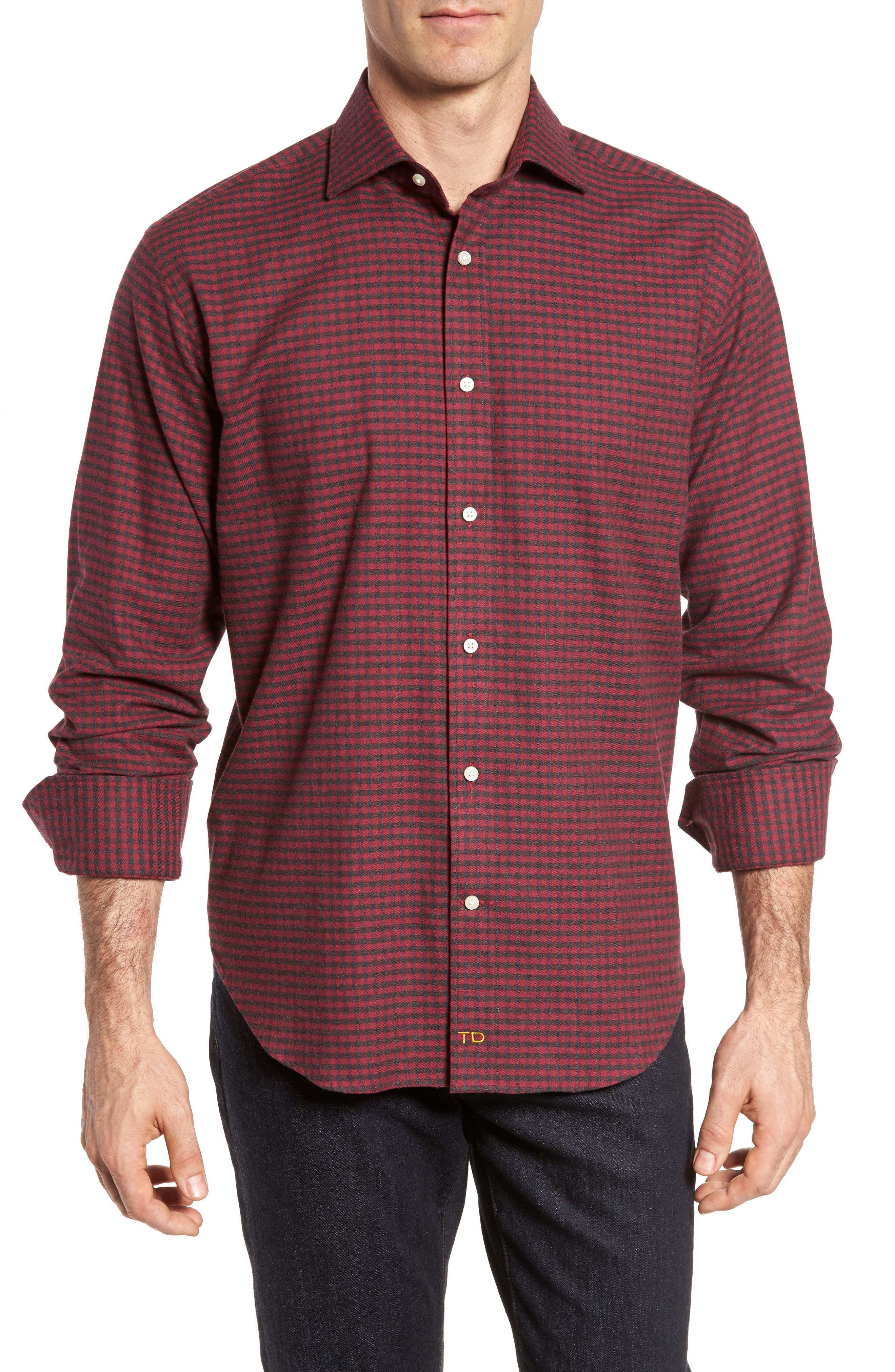 Regular Fit Check Sport Shirt,                         Main,                         color, Dark Pink