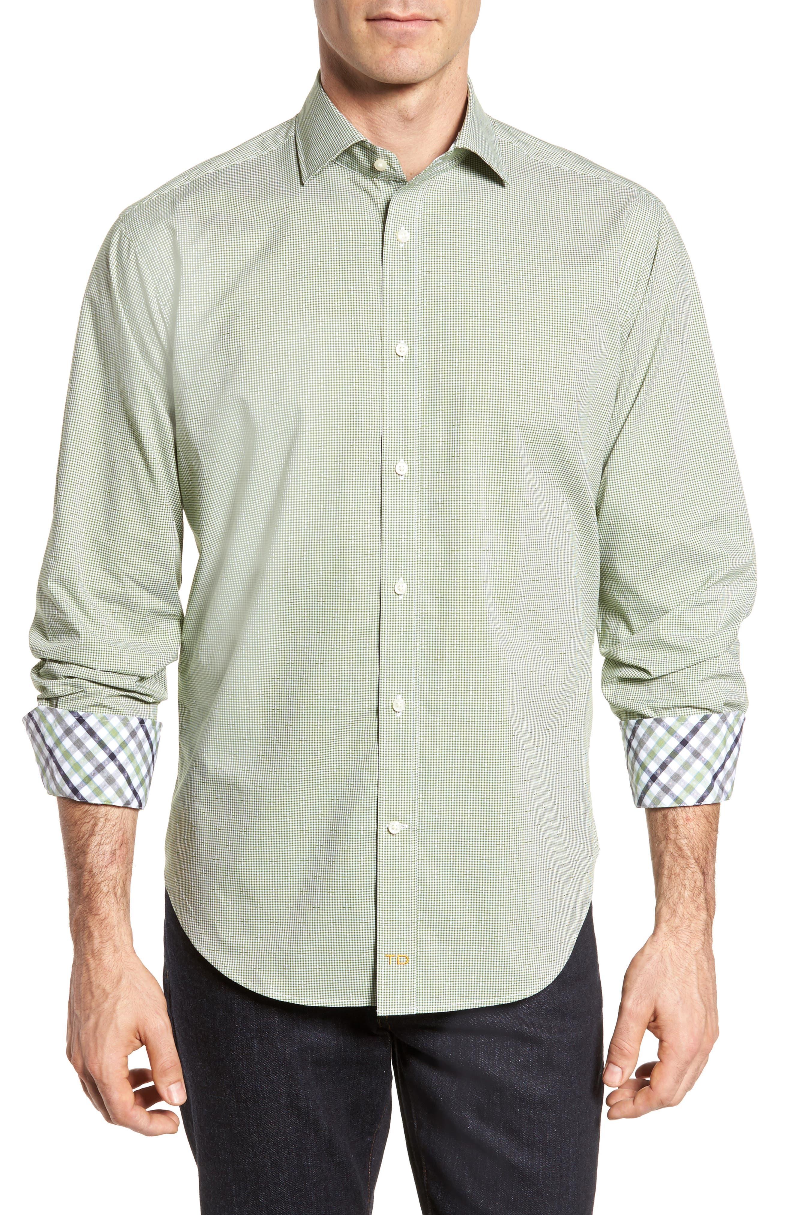 Check Sport Shirt,                         Main,                         color, Green