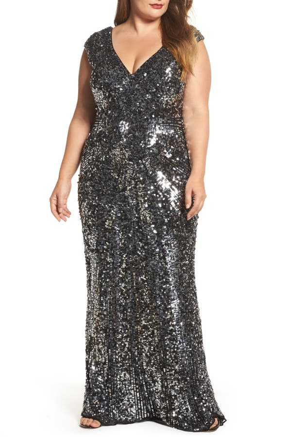 Mac Duggal Sequin Plunging V Neck Gown Plus Size Nordstrom