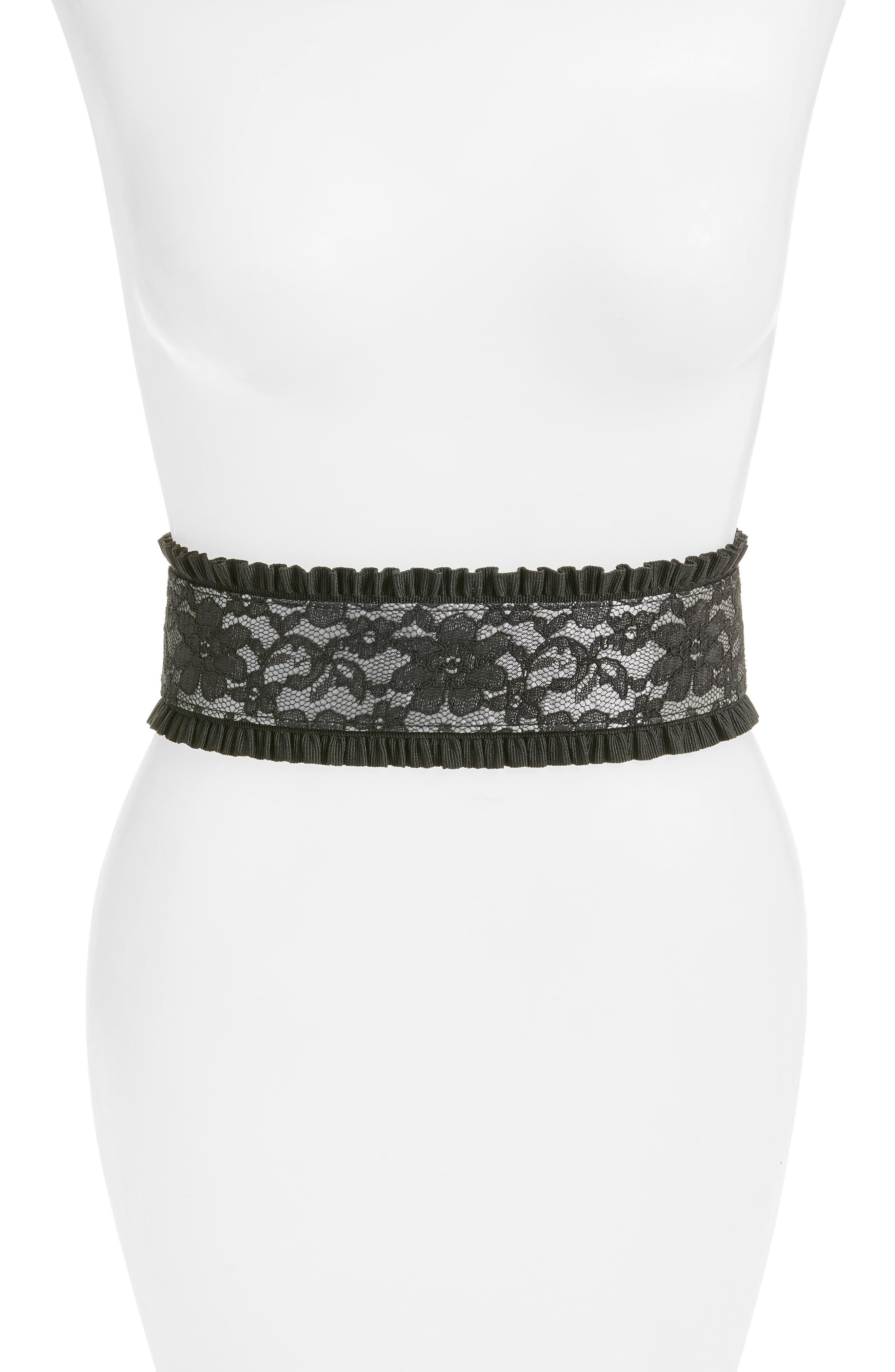 Lace Stretch Belt,                         Main,                         color, Black