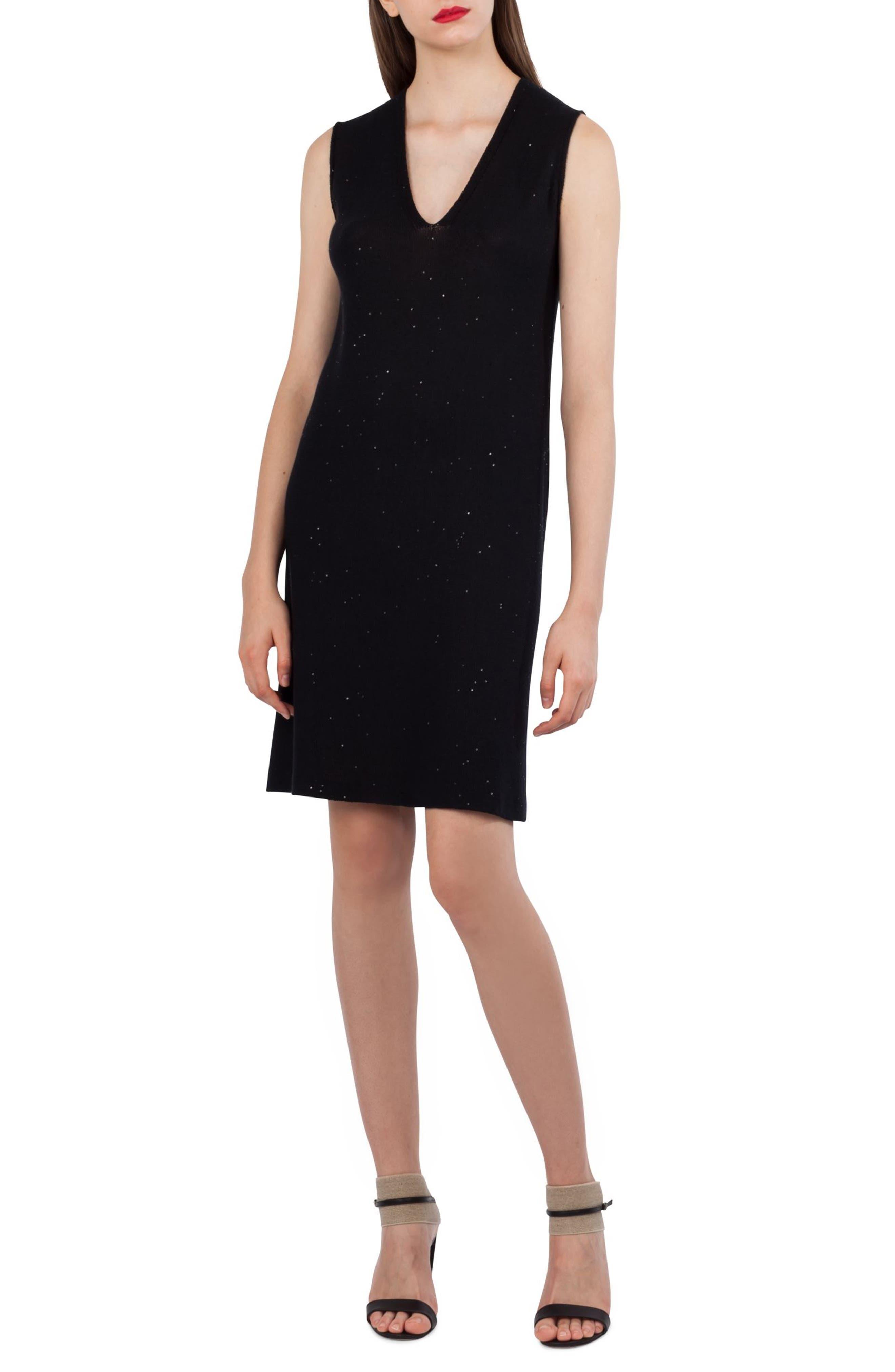 Sequin Knit Silk & Cotton Dress,                             Main thumbnail 1, color,                             Black