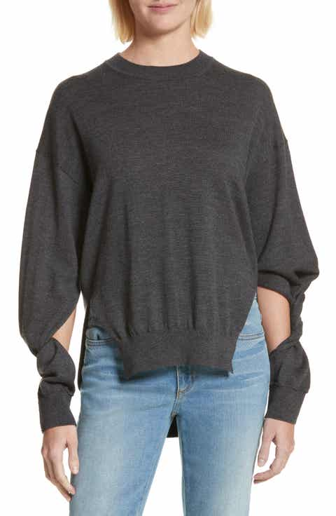 T by Alexander Wang Twisted Sleeve Wool Sweater