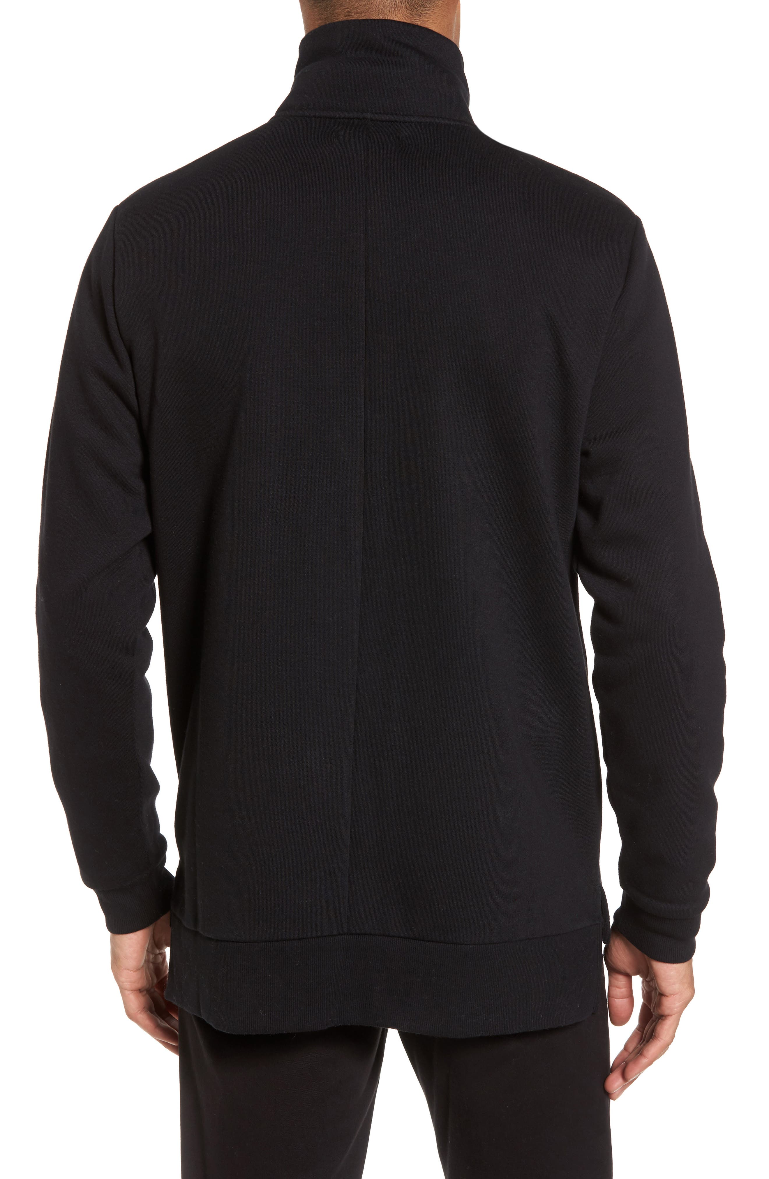 Quarter Zip Fleece Pullover,                             Alternate thumbnail 2, color,                             Black