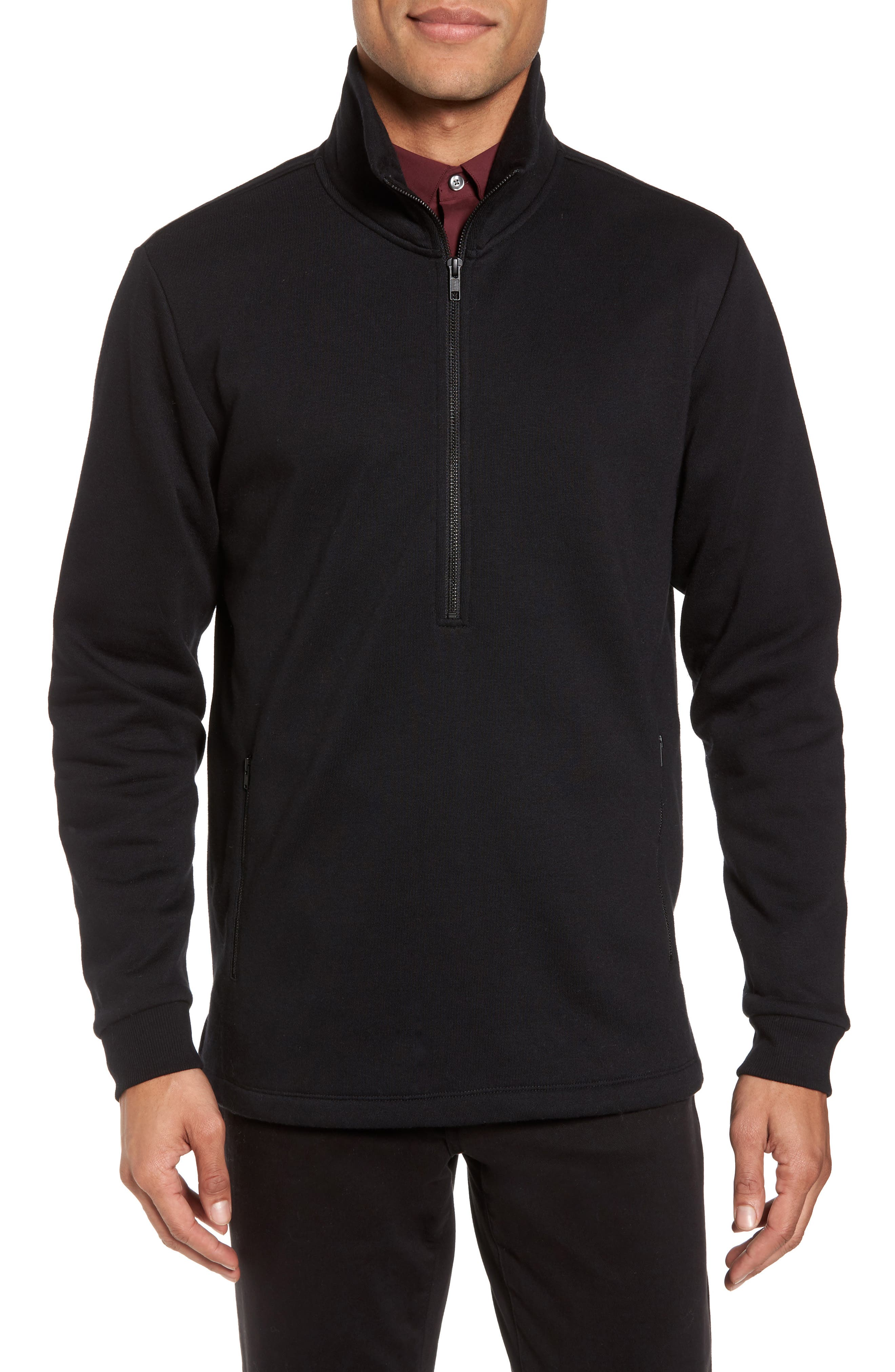 Quarter Zip Fleece Pullover,                             Main thumbnail 1, color,                             Black