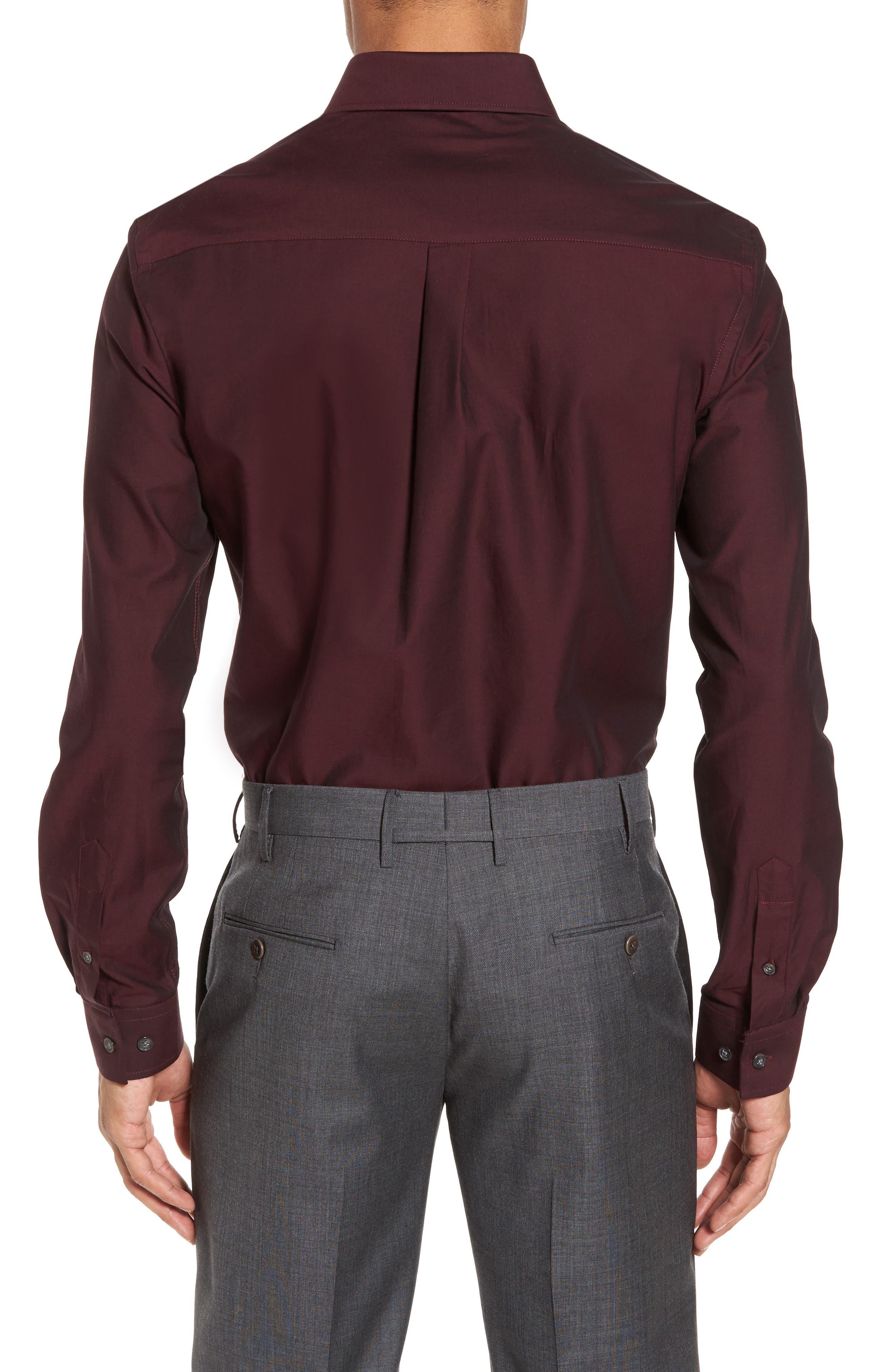 Trim Fit Solid Dress Shirt,                             Alternate thumbnail 2, color,                             Burgundy