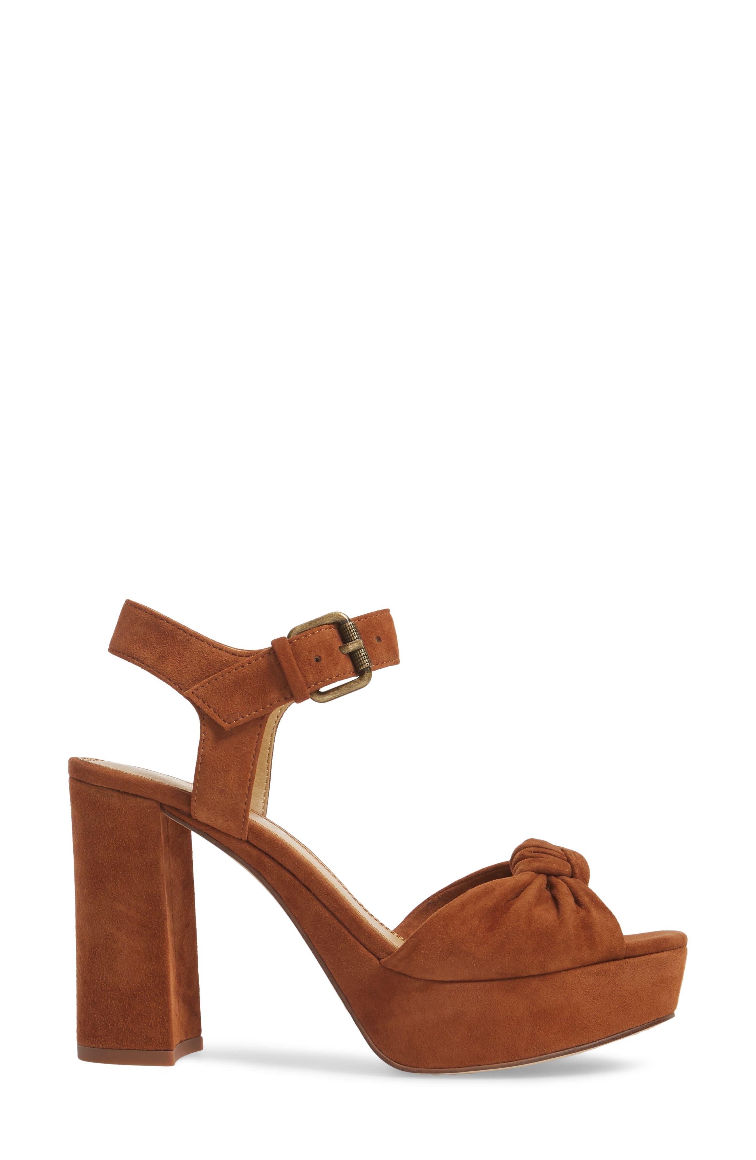Bates Platform Sandal,                             Alternate thumbnail 3, color,                             Caramel Suede