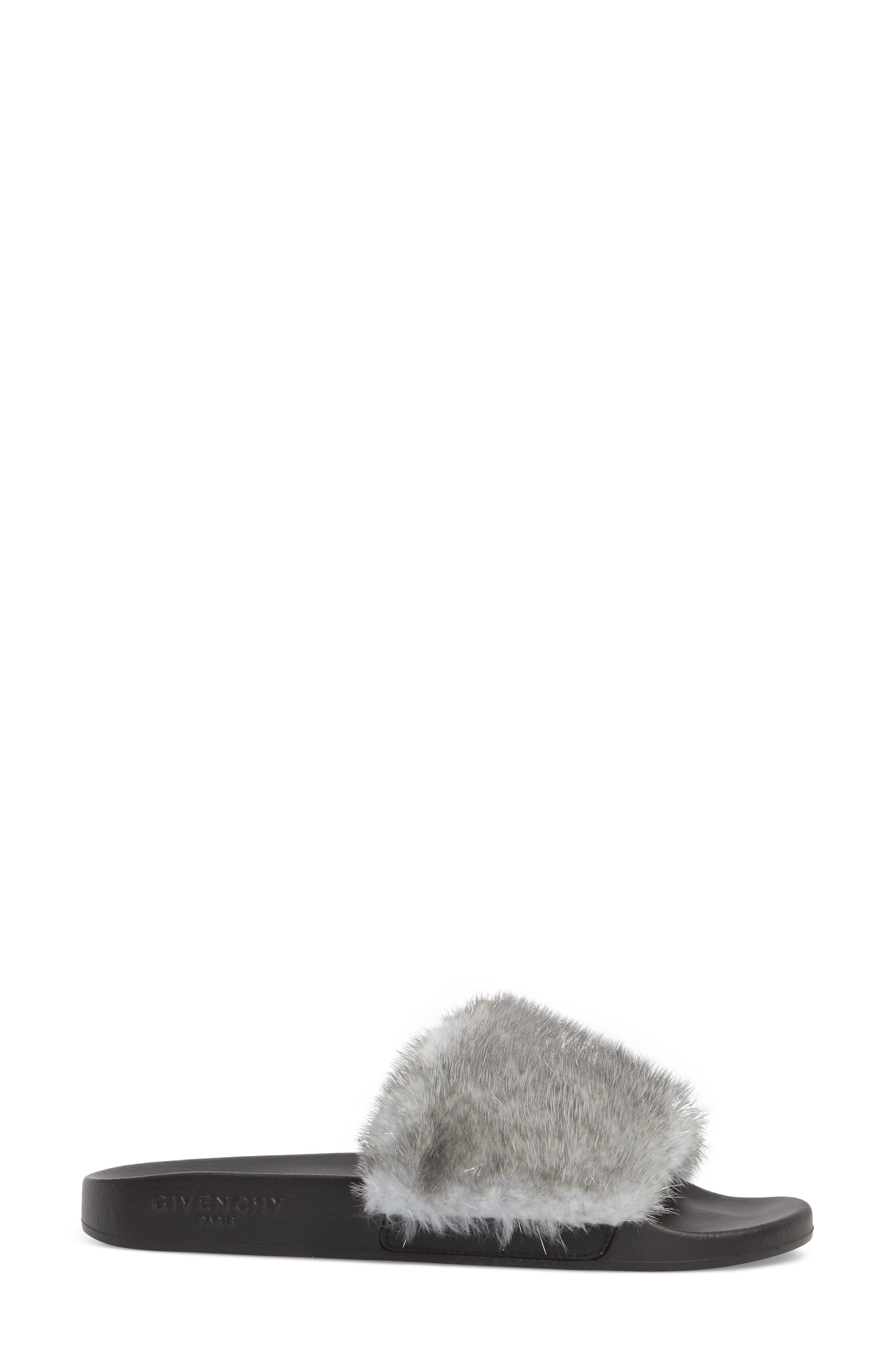 Genuine Mink Fur Slide Sandal,                             Alternate thumbnail 3, color,                             Silver
