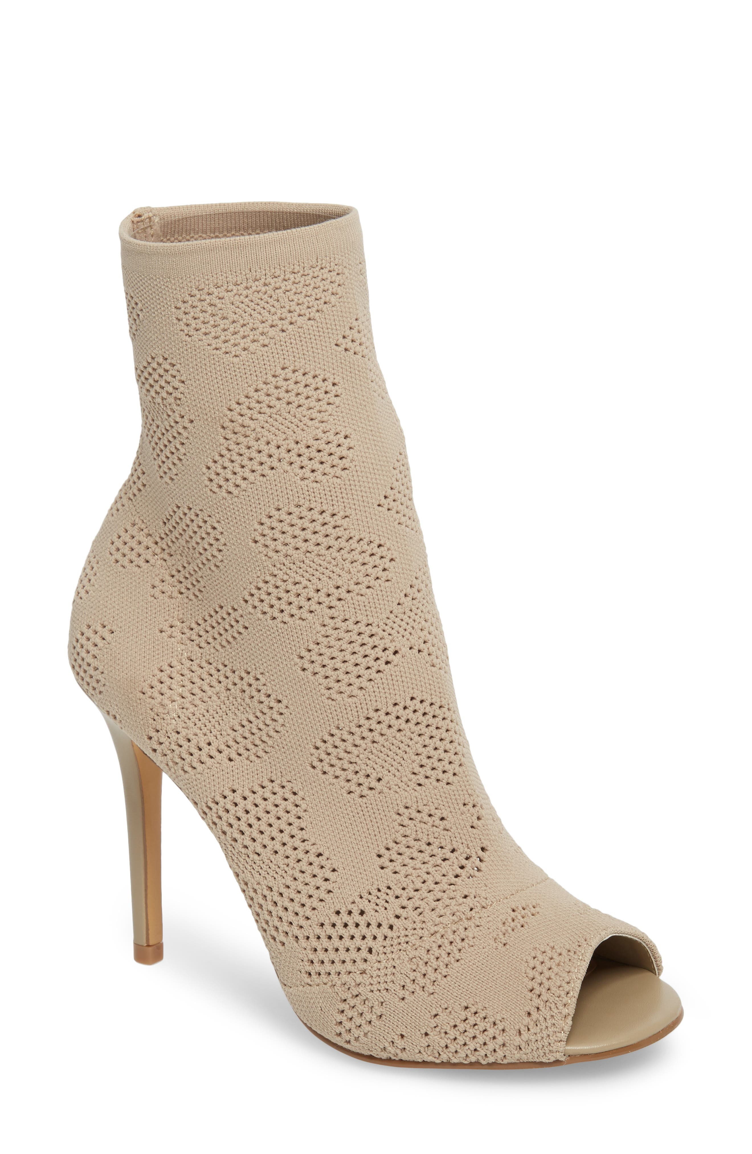 Ranger Sock Knit Open Toe Bootie,                             Main thumbnail 1, color,                             Nude Stretch Fabric