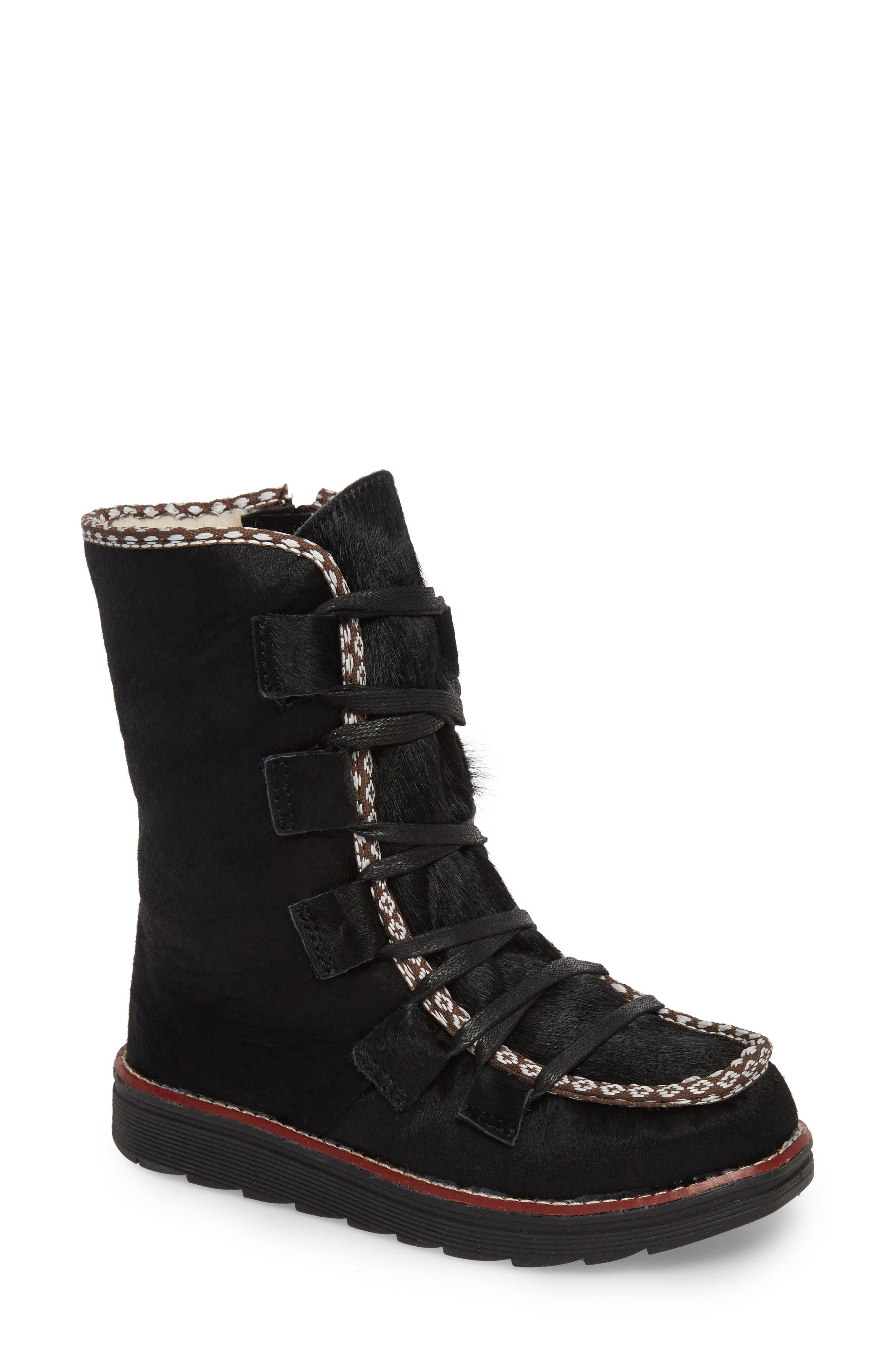 Kitchener Waterproof Genuine Calf Hair Snow Boot,                         Main,                         color, Black