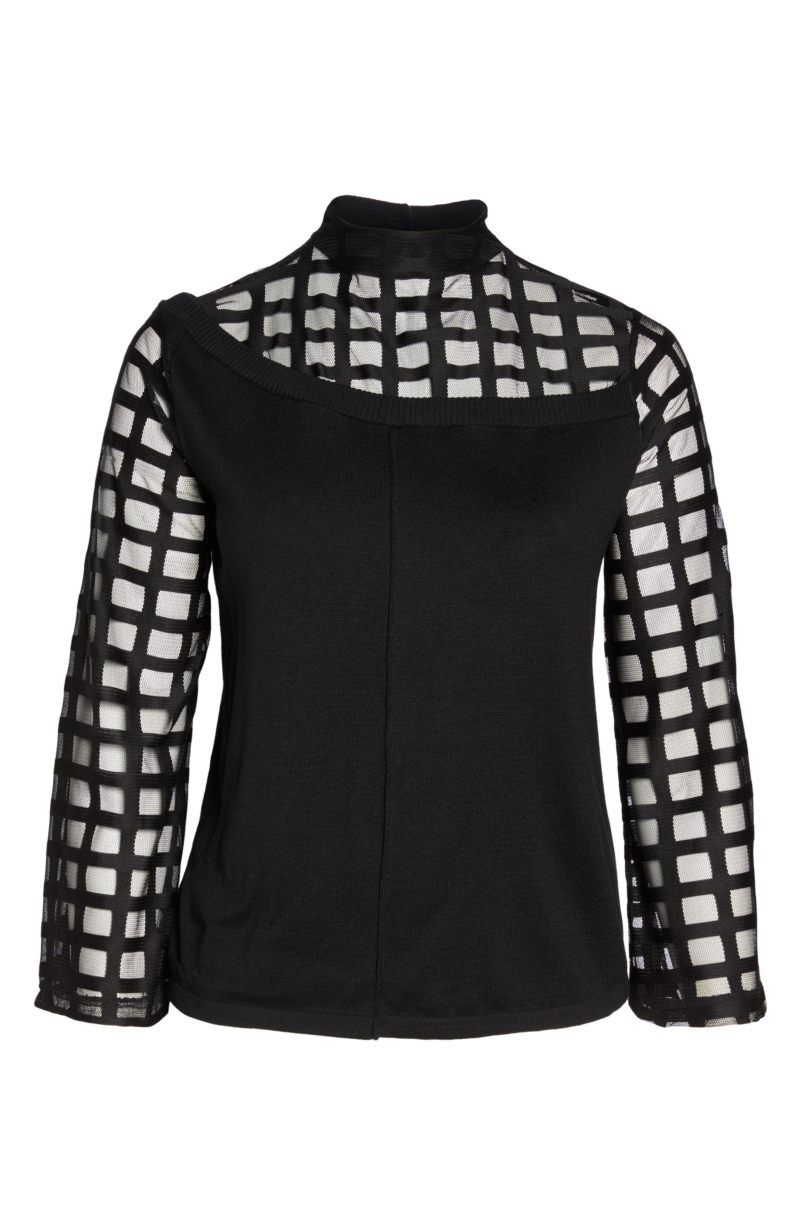 Alternate Image 6  - LOST INK Mesh Bell Sleeve Sweater (Plus Size)