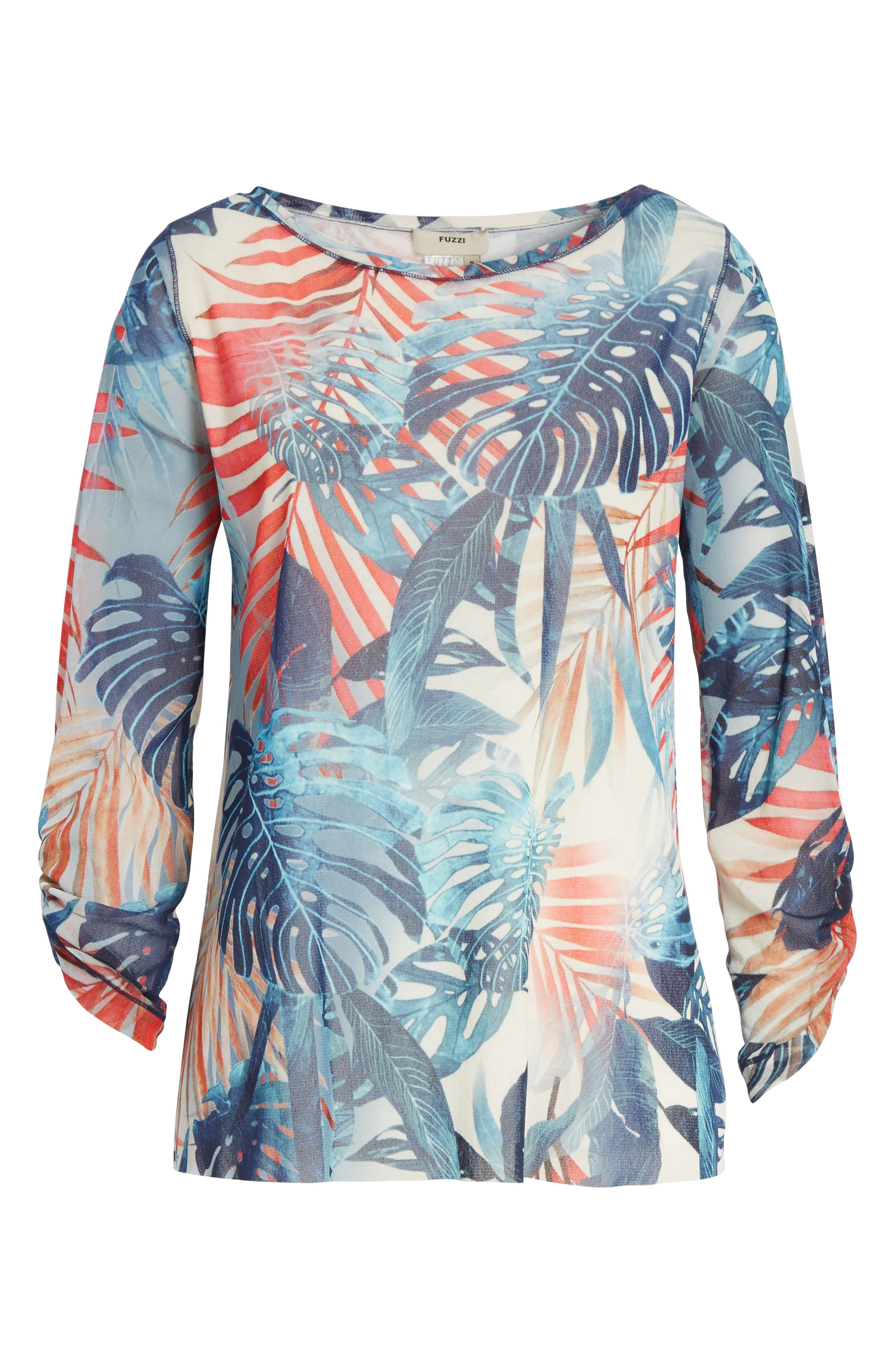 Foliage Print Long Sleeve Top,                             Alternate thumbnail 6, color,                             Zaffiro