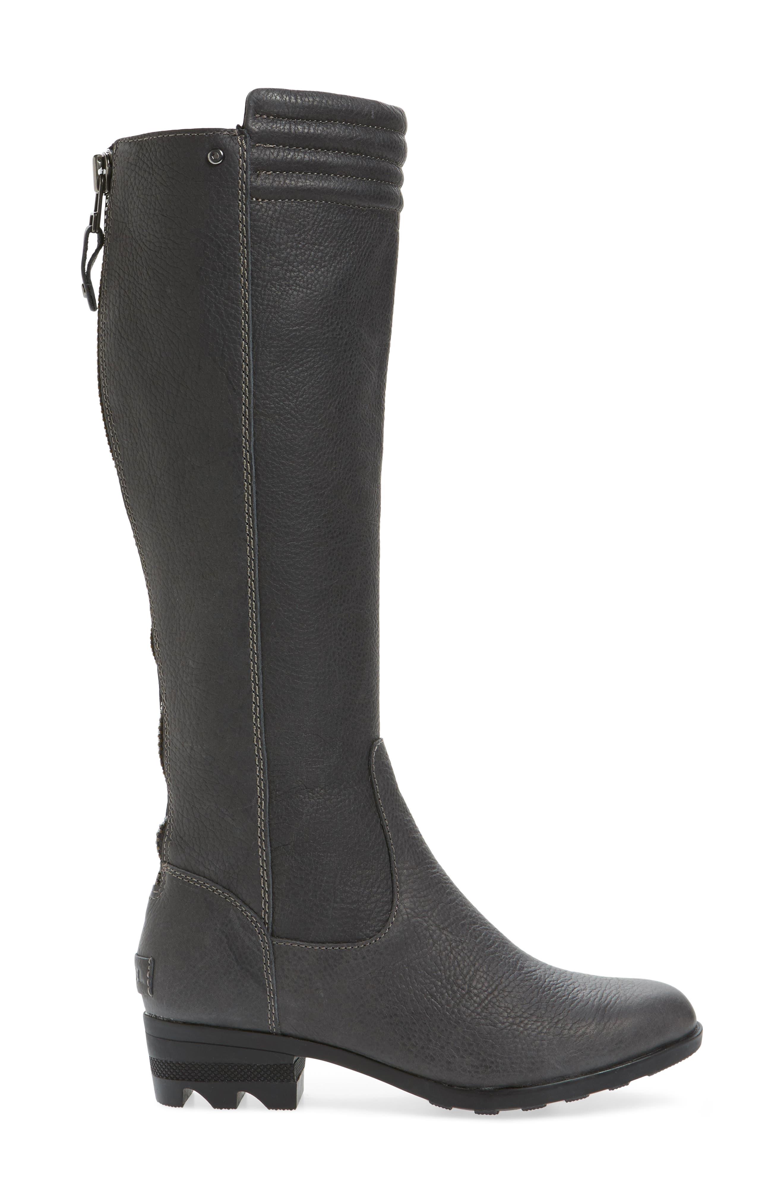Danica Waterproof Knee High Boot,                             Alternate thumbnail 3, color,                             Quarry/ Black