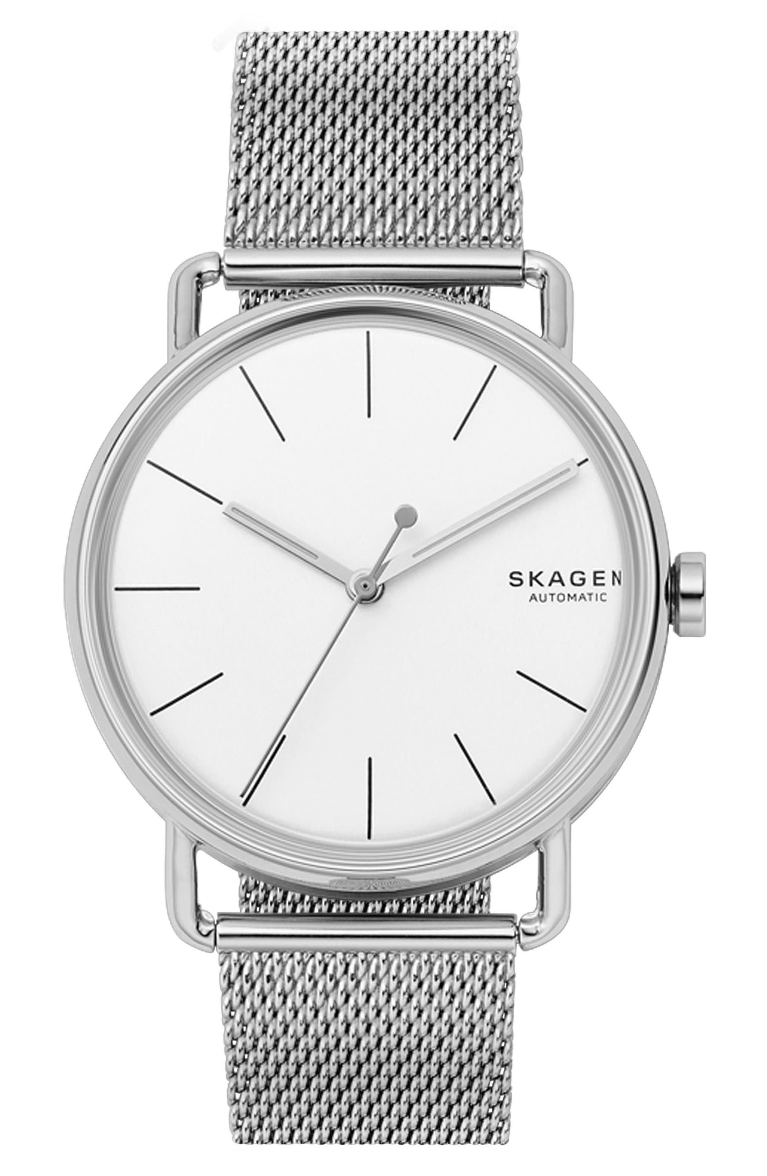 Falster Automatic Mesh Strap Watch, 40mm,                         Main,                         color, Silver/ White/ Silver