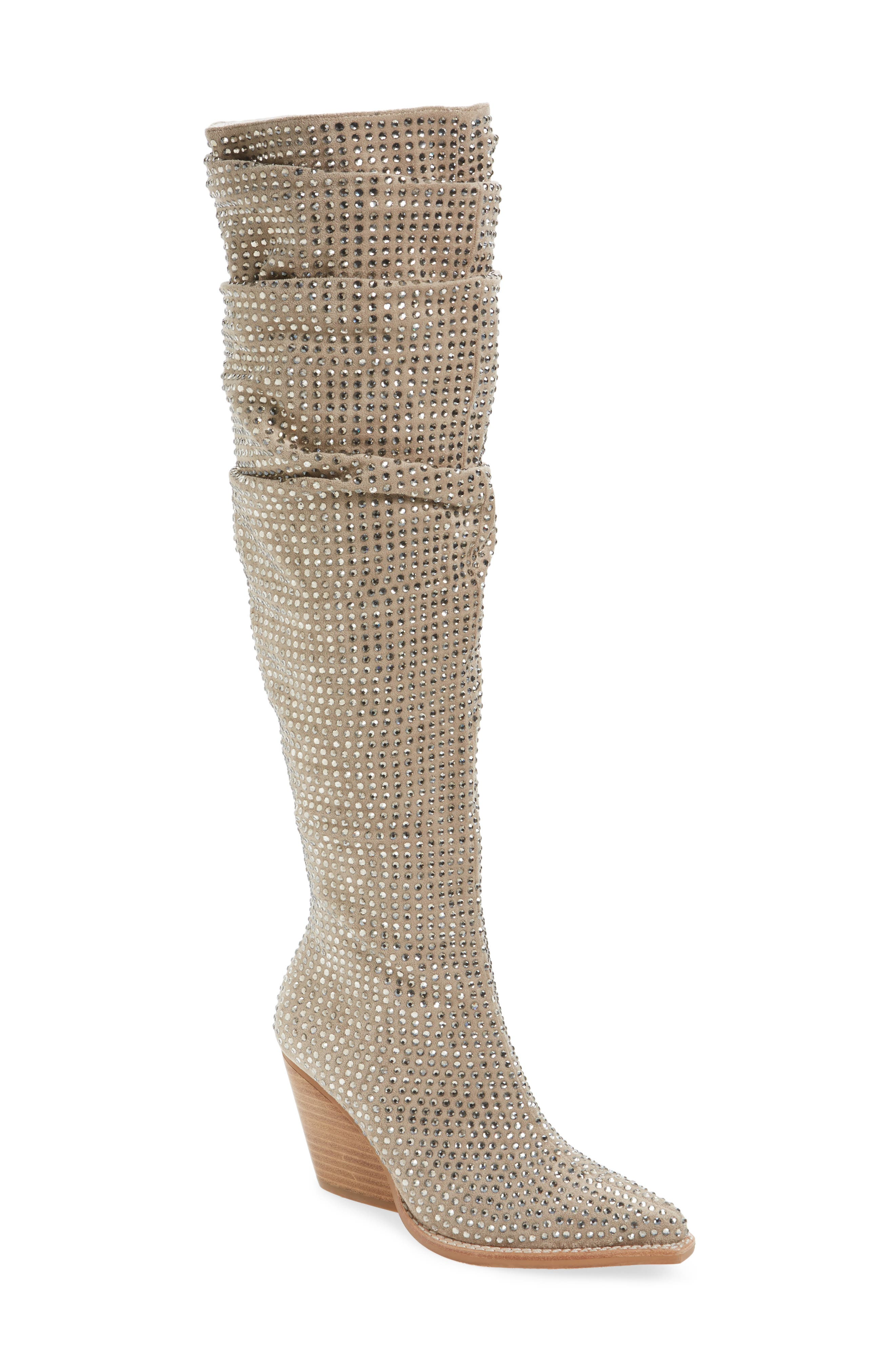 Controlla Slouch Over the Knee Boot,                             Main thumbnail 1, color,                             Taupe/ Silver Faux Suede