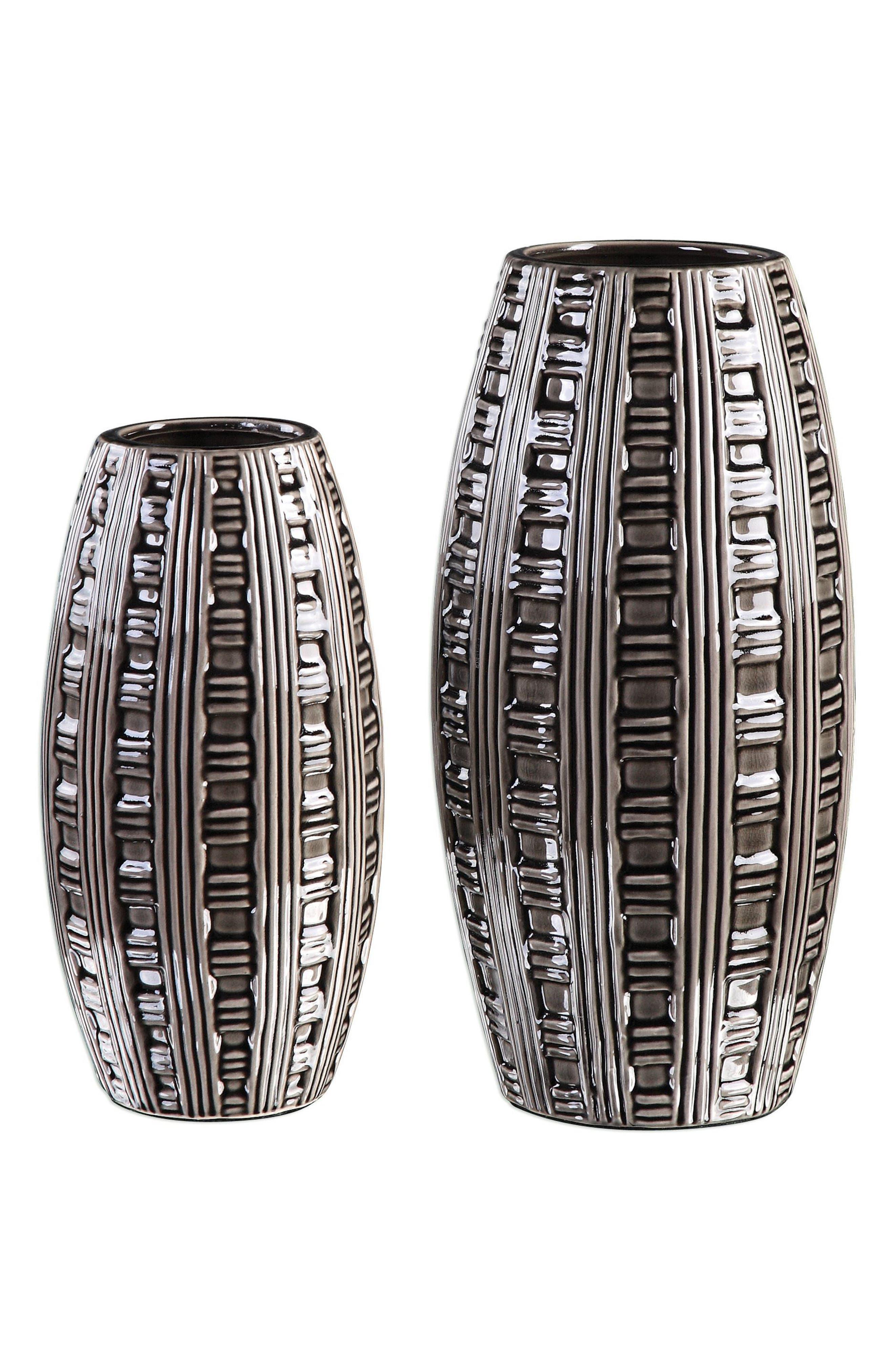 Aura Set of 2 Vases,                             Main thumbnail 1, color,                             Grey