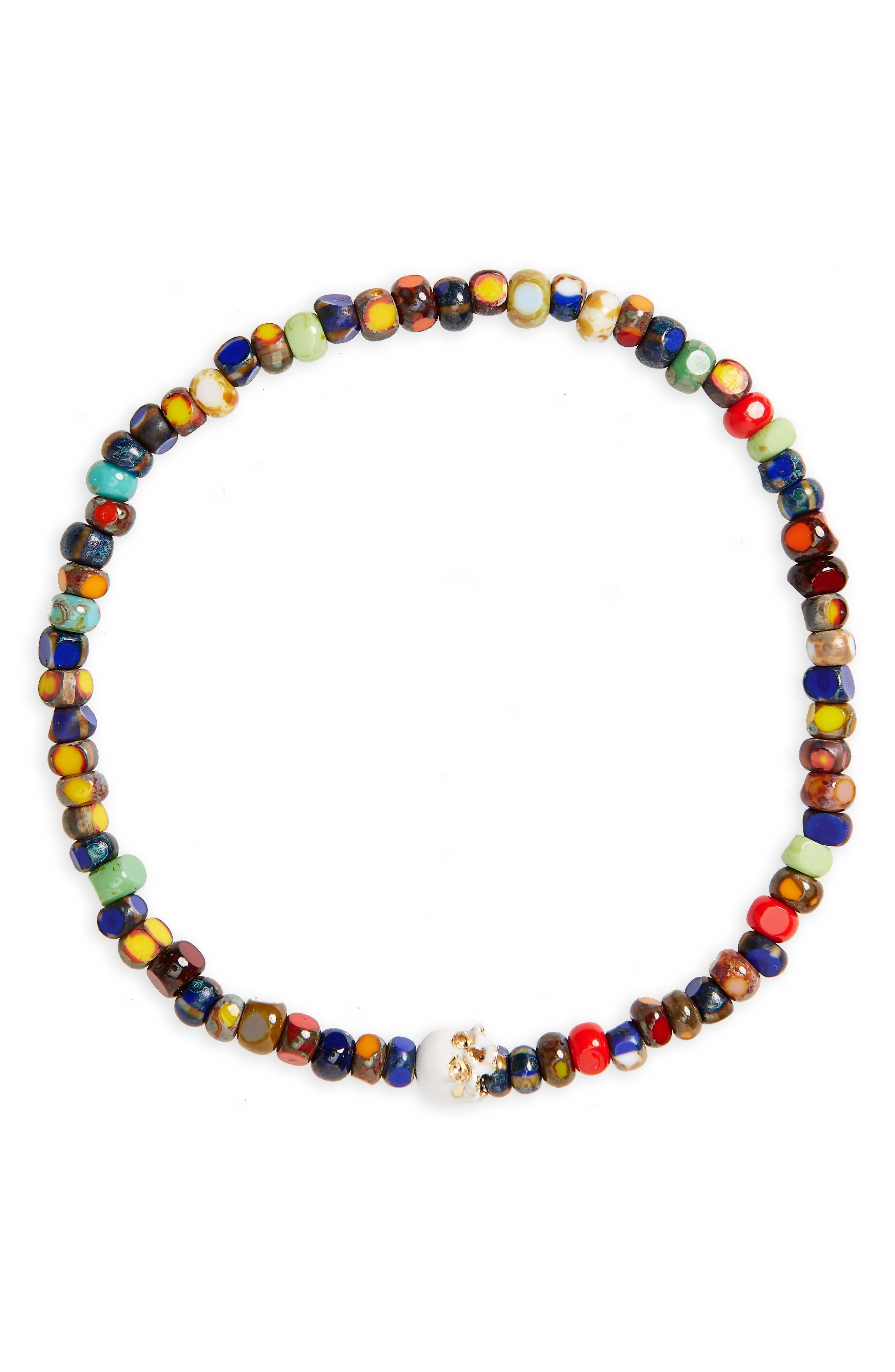 Yellow Gold Half Skull Stretch Bracelet,                         Main,                         color, Blue Multi