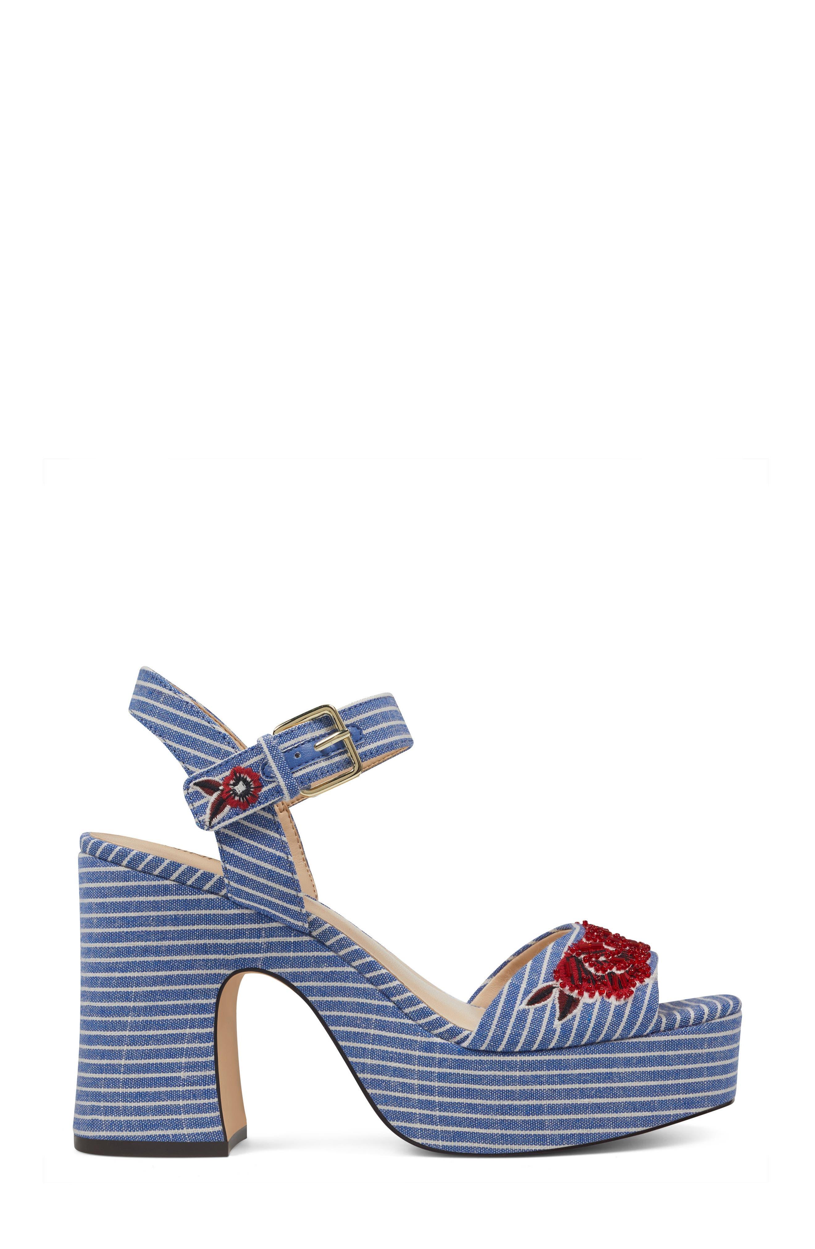 Fontayah Platform Sandal,                             Alternate thumbnail 3, color,                             Blue/ White Fabric