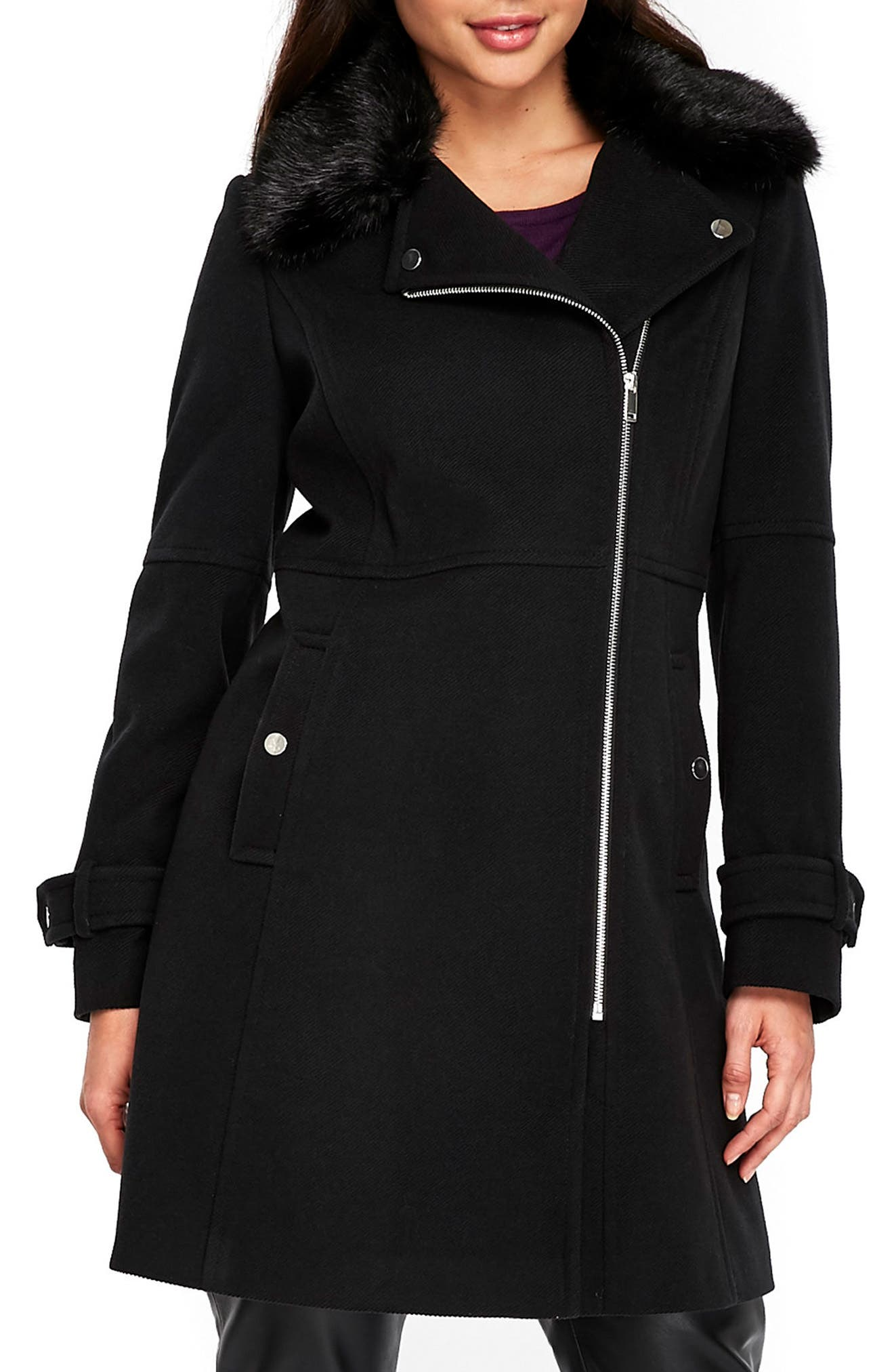 Twill Biker Jacket with Faux Fur Collar,                         Main,                         color, Black