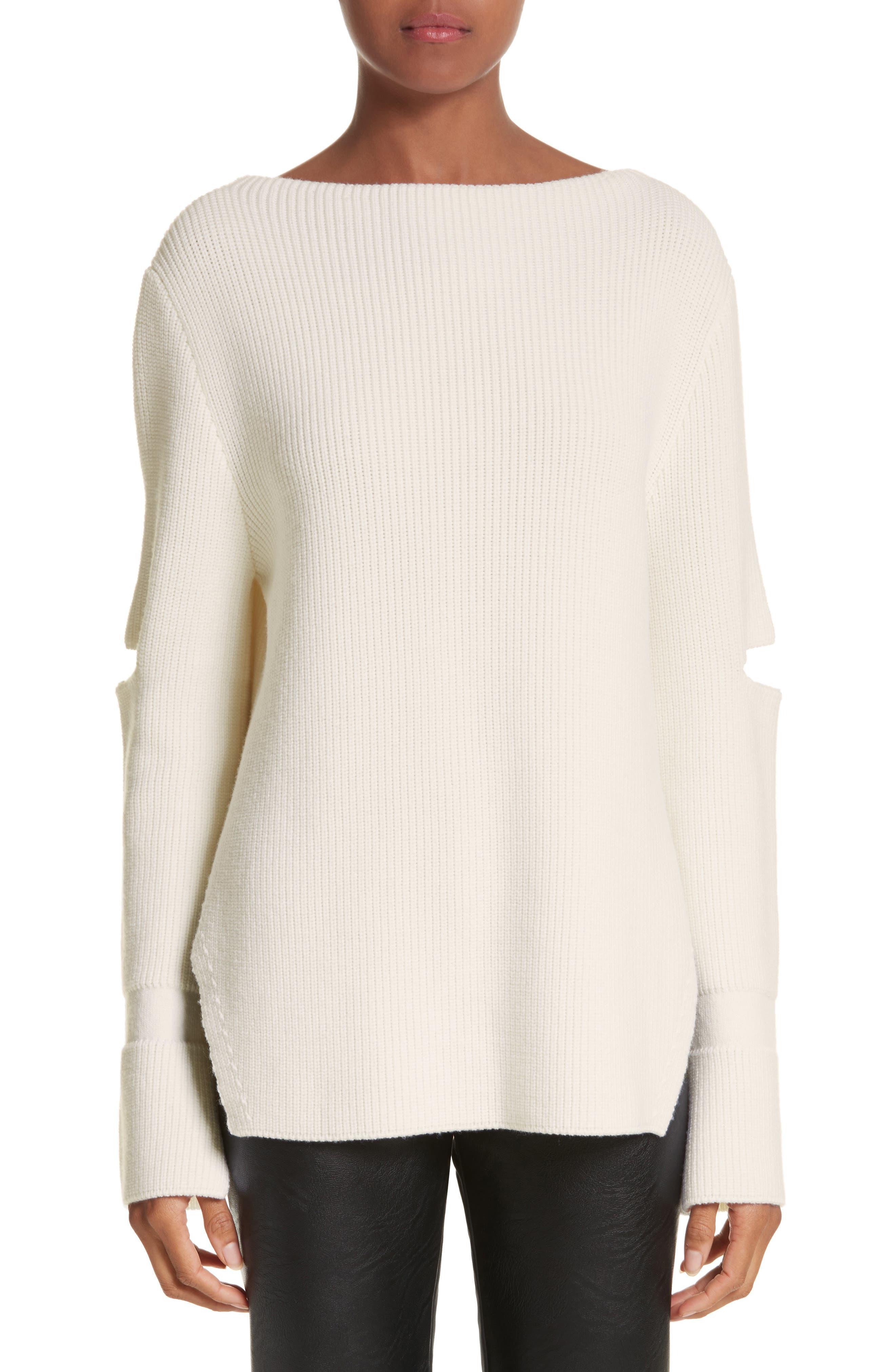 Slit Back Virgin Wool Blend Sweater,                         Main,                         color, Natural