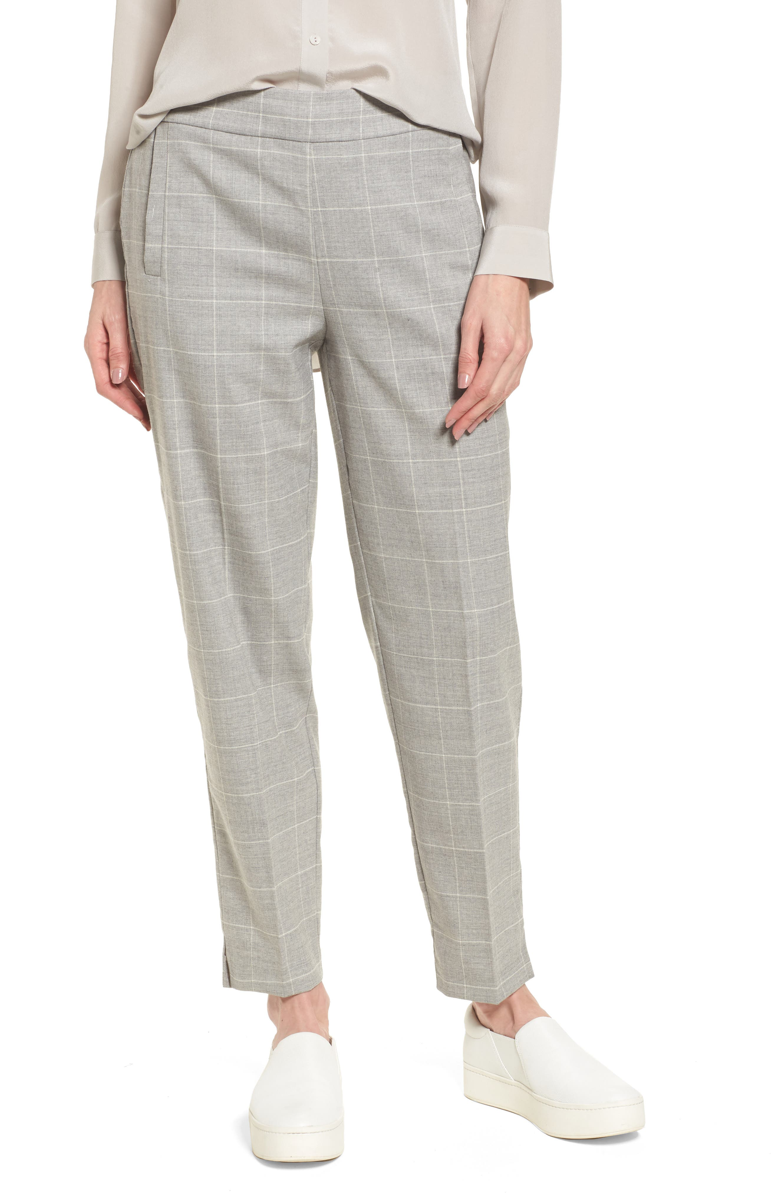 Tapered Stretch Wool Ankle Pants,                         Main,                         color, Dark Pearl