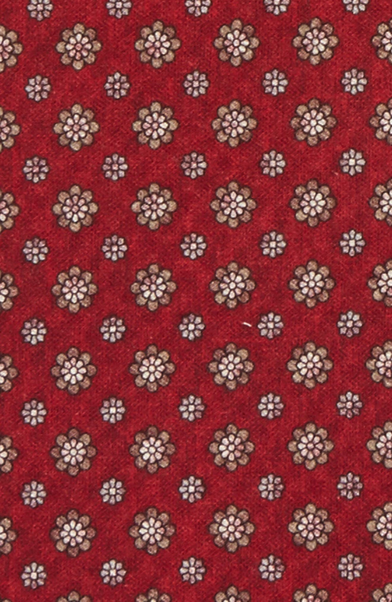 Medallion Wool & Cotton Pocket Square,                             Alternate thumbnail 2, color,                             Red