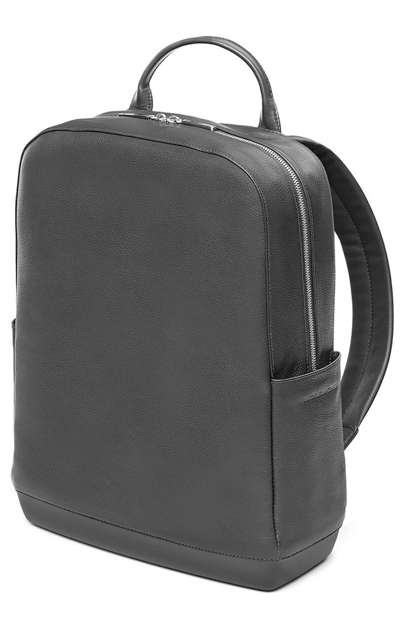 Classic Leather Backpack,                         Main,                         color, Black