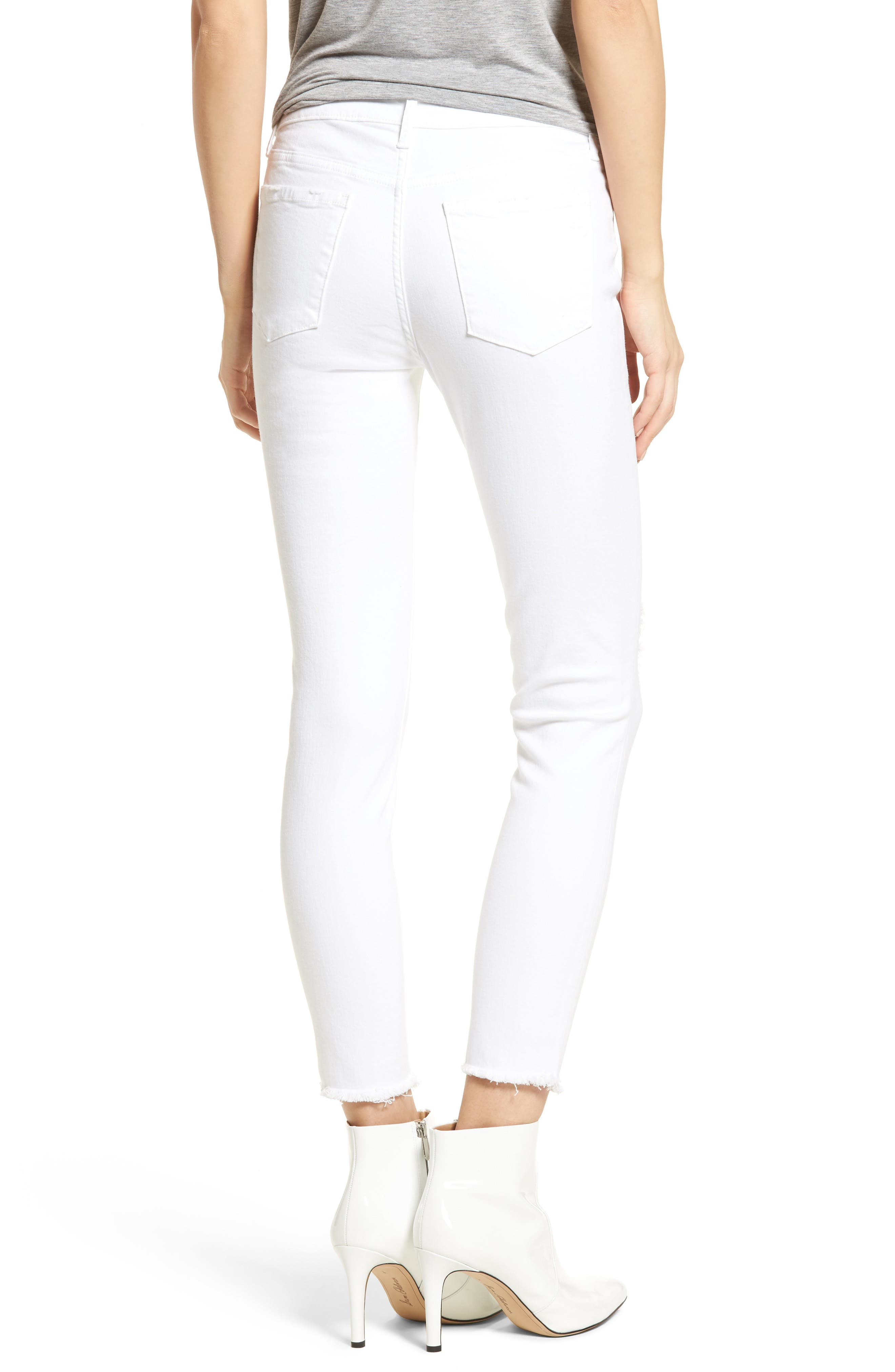 Carly Distressed Ankle Skinny Jeans,                             Alternate thumbnail 2, color,                             Cannes